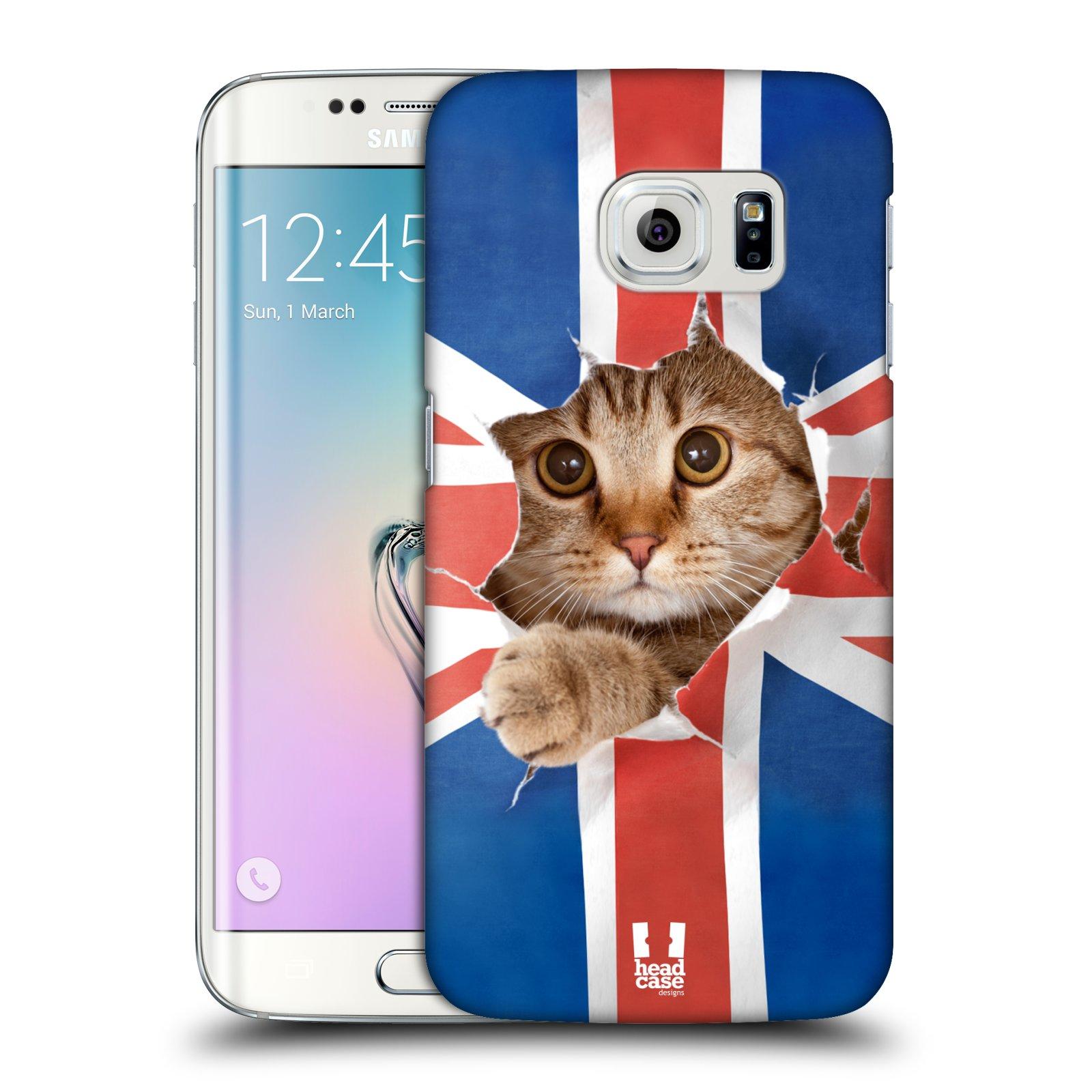 Plastové pouzdro na mobil Samsung Galaxy S6 Edge HEAD CASE KOČKA A VLAJKA (Kryt či obal na mobilní telefon Samsung Galaxy S6 Edge SM-G925F)