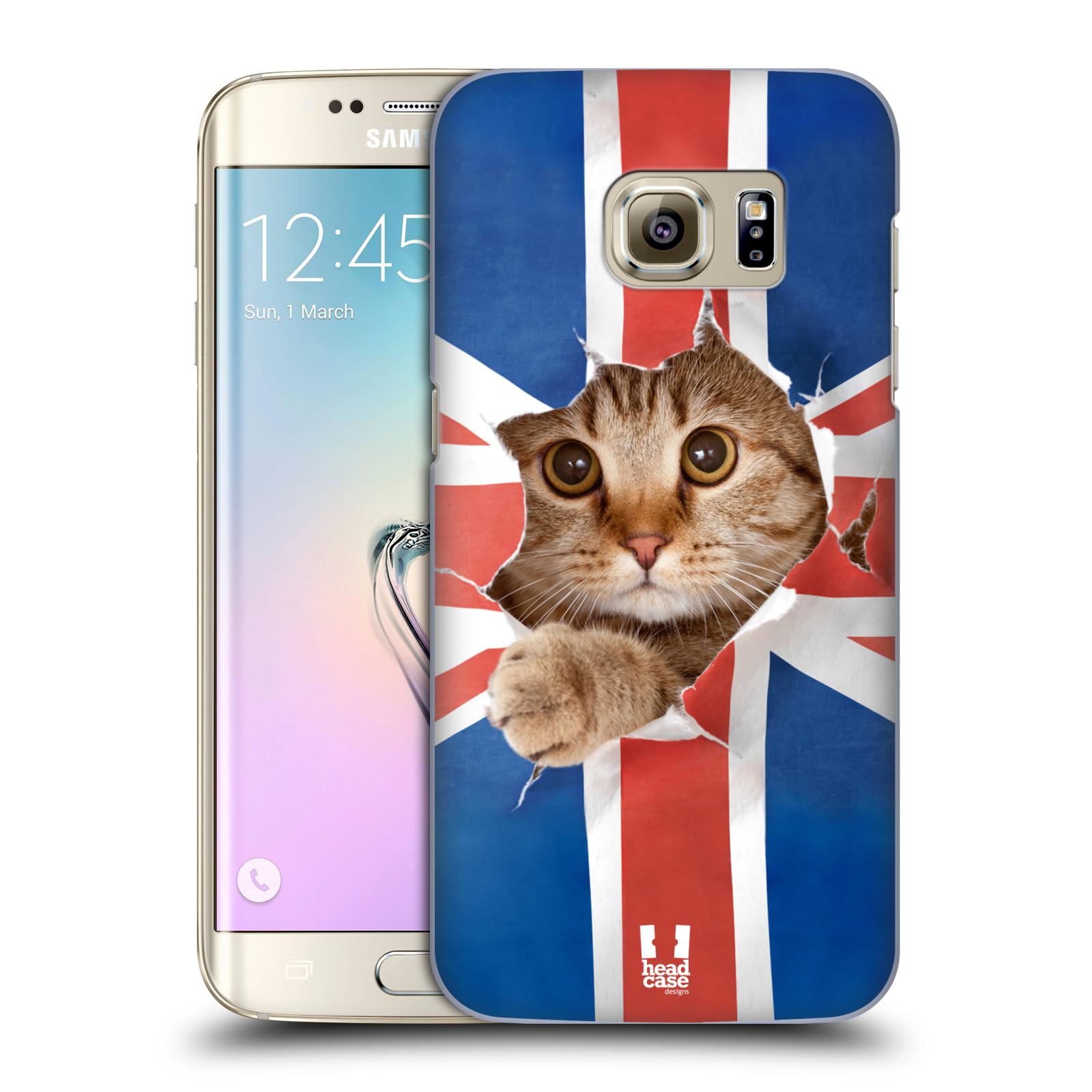 Plastové pouzdro na mobil Samsung Galaxy S7 Edge HEAD CASE KOČKA A VLAJKA (Kryt či obal na mobilní telefon Samsung Galaxy S7 Edge SM-G935F)