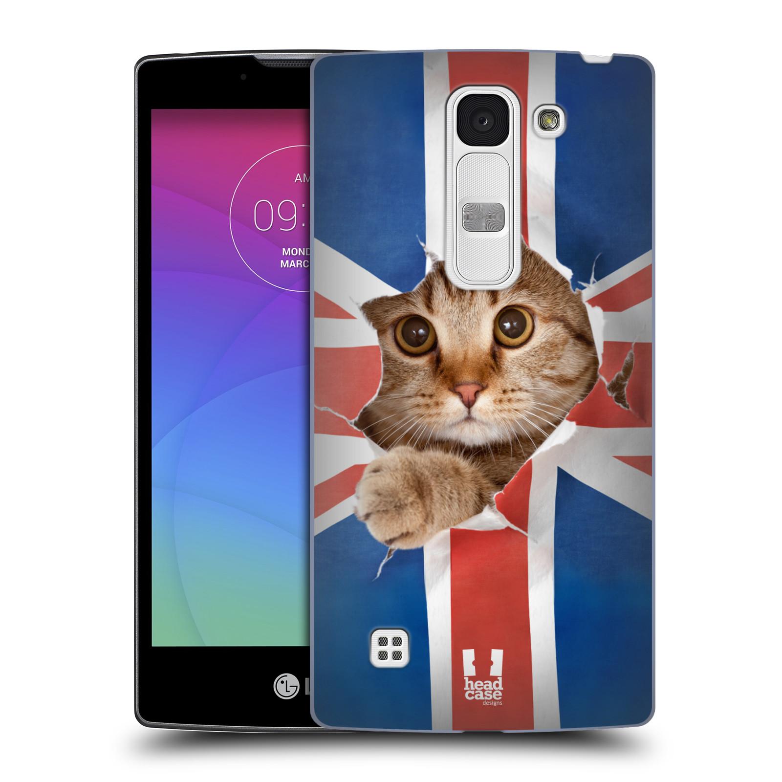 Plastové pouzdro na mobil LG Spirit LTE HEAD CASE KOČKA A VLAJKA (Kryt či obal na mobilní telefon LG Spirit H420 a LG Spirit LTE H440N)