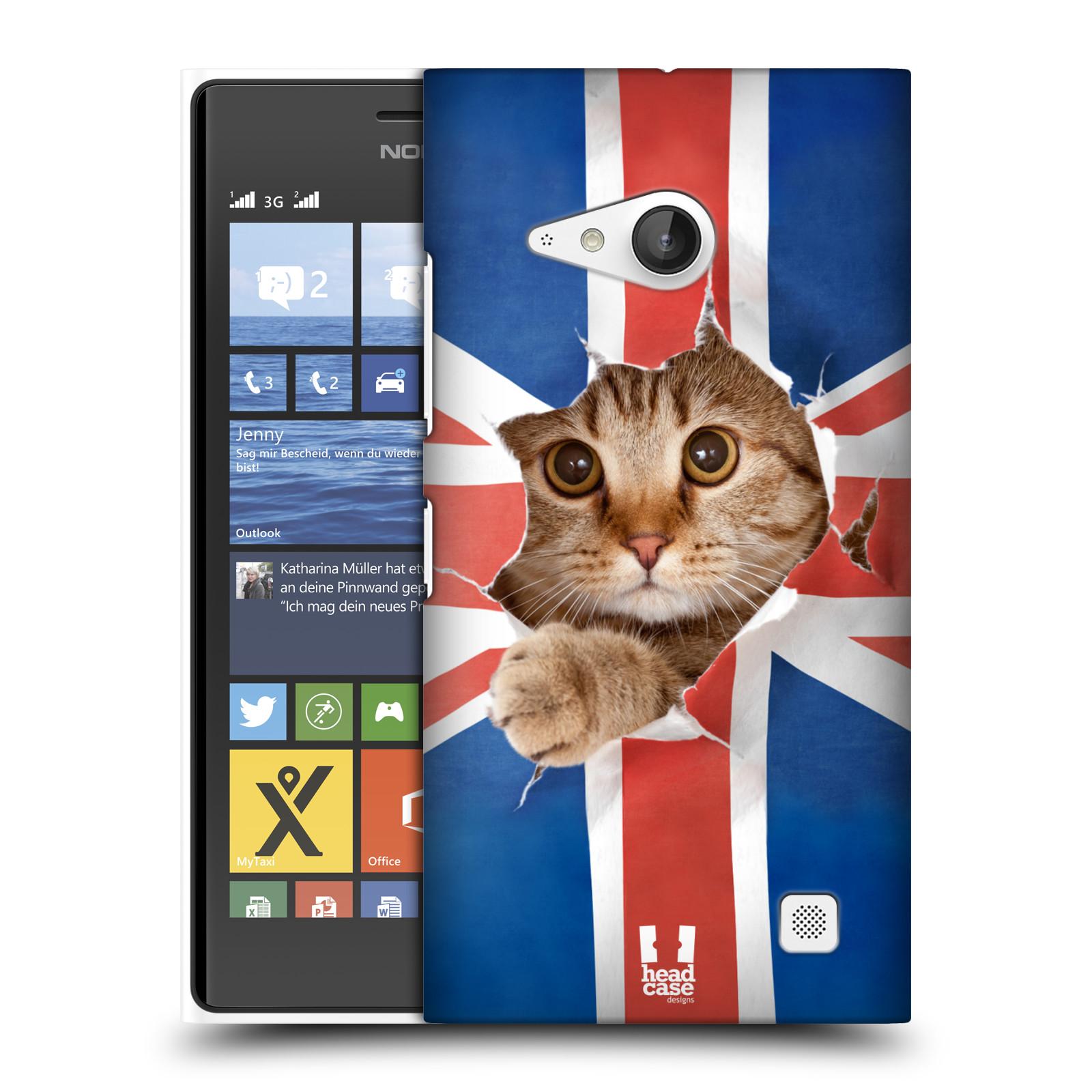 Plastové pouzdro na mobil Nokia Lumia 730 Dual SIM HEAD CASE KOČKA A VLAJKA (Kryt či obal na mobilní telefon Nokia Lumia 730 Dual SIM)