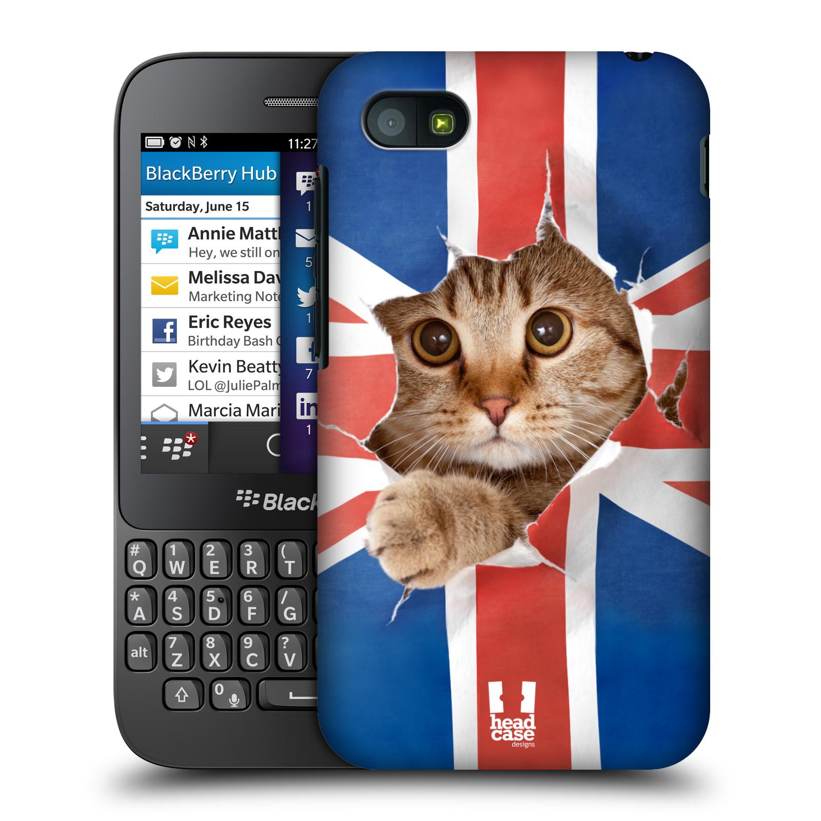 Plastové pouzdro na mobil Blackberry Q5 HEAD CASE KOČKA A VLAJKA (Kryt či obal na mobilní telefon Blackberry Q5)