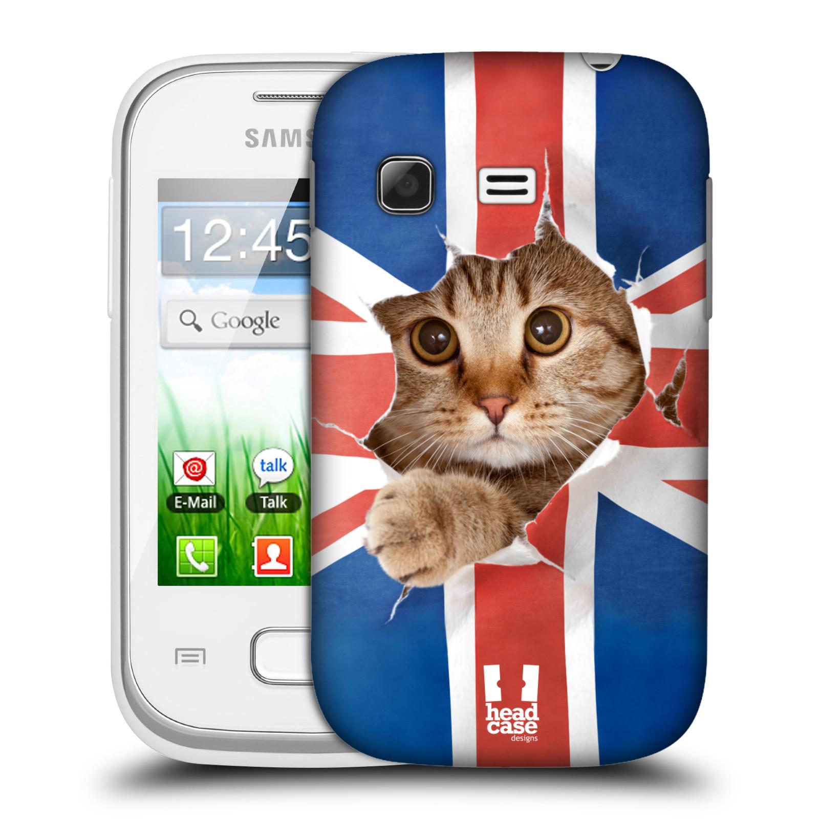 Plastové pouzdro na mobil Samsung Galaxy Pocket HEAD CASE KOČKA A VLAJKA (Kryt či obal na mobilní telefon Samsung Galaxy Pocket GT-S5300)