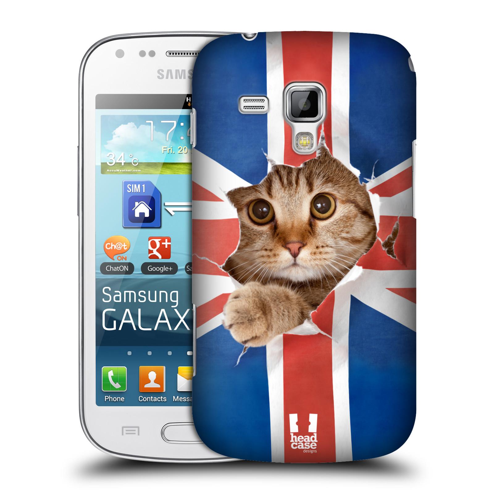 Plastové pouzdro na mobil Samsung Galaxy S Duos HEAD CASE KOČKA A VLAJKA (Kryt či obal na mobilní telefon Samsung Galaxy S Duos GT-S7562)