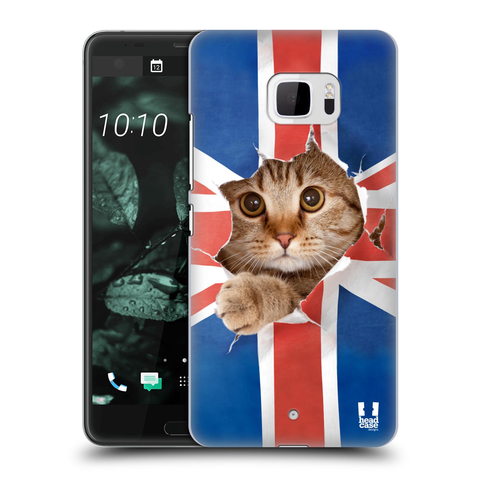 Plastové pouzdro na mobil HTC U Ultra Head Case - KOČKA A VLAJKA (Plastový kryt či obal na mobilní telefon HTC U Ultra (99HALT015-00))