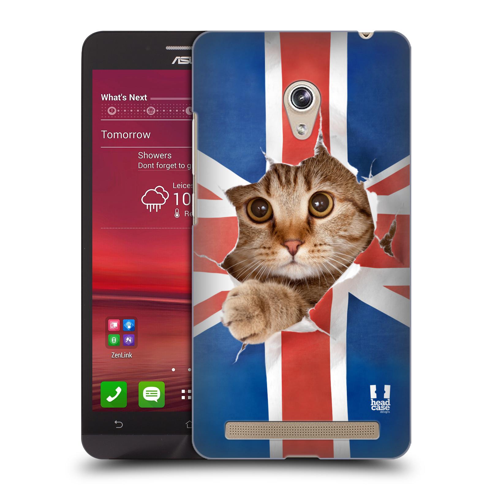 Plastové pouzdro na mobil Asus Zenfone 6 HEAD CASE KOČKA A VLAJKA (Kryt či obal na mobilní telefon Asus Zenfone 6 A600CG / A601CG)