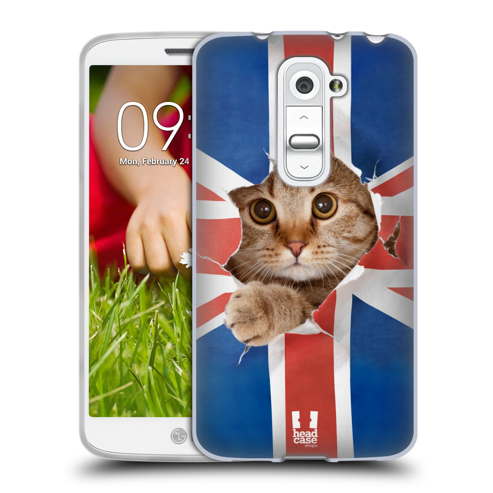 Silikonové pouzdro na mobil LG G2 Mini HEAD CASE KOČKA A VLAJKA (Silikonový kryt či obal na mobilní telefon LG G2 Mini D620)