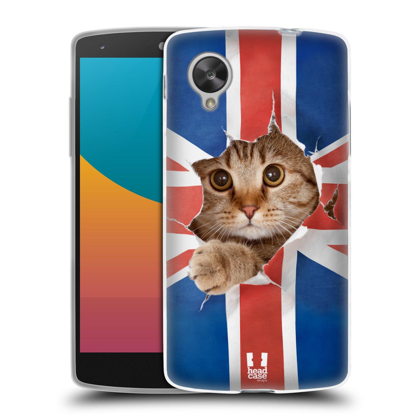 Silikonové pouzdro na mobil LG Nexus 5 HEAD CASE KOČKA A VLAJKA (Silikonový kryt či obal na mobilní telefon LG Google Nexus 5 D821)