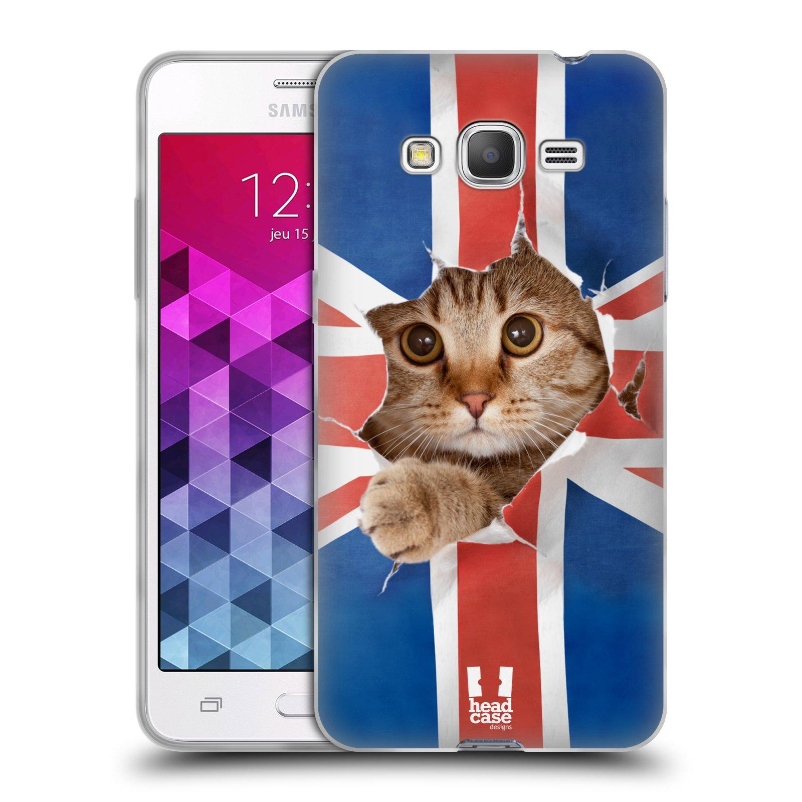 Silikonové pouzdro na mobil Samsung Galaxy Grand Prime VE HEAD CASE KOČKA A VLAJKA