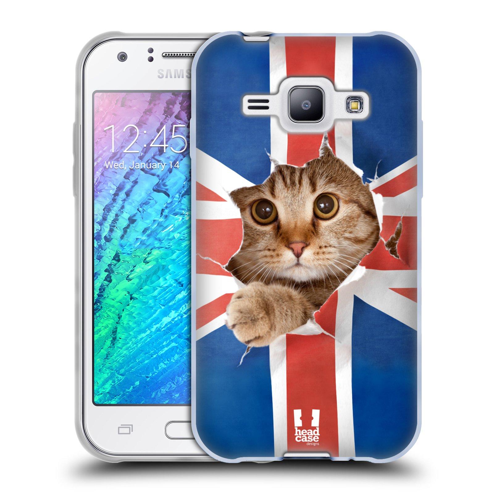 Silikonové pouzdro na mobil Samsung Galaxy J1 HEAD CASE KOČKA A VLAJKA (Silikonový kryt či obal na mobilní telefon Samsung Galaxy J1 a J1 Duos)