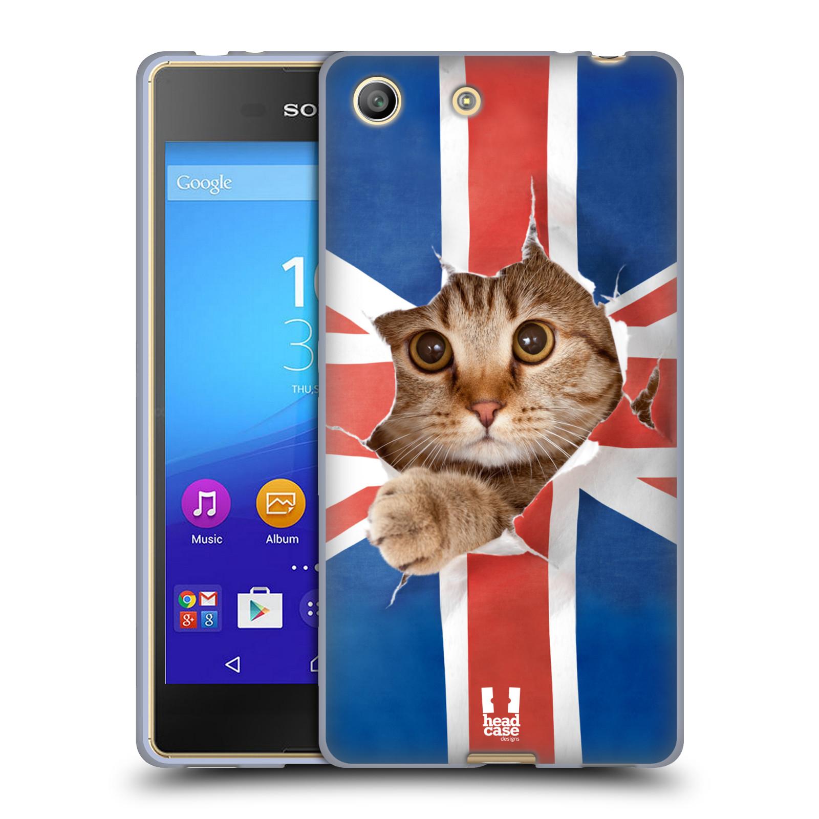 Silikonové pouzdro na mobil Sony Xperia M5 HEAD CASE KOČKA A VLAJKA (Silikonový kryt či obal na mobilní telefon Sony Xperia M5 Dual SIM / Aqua)