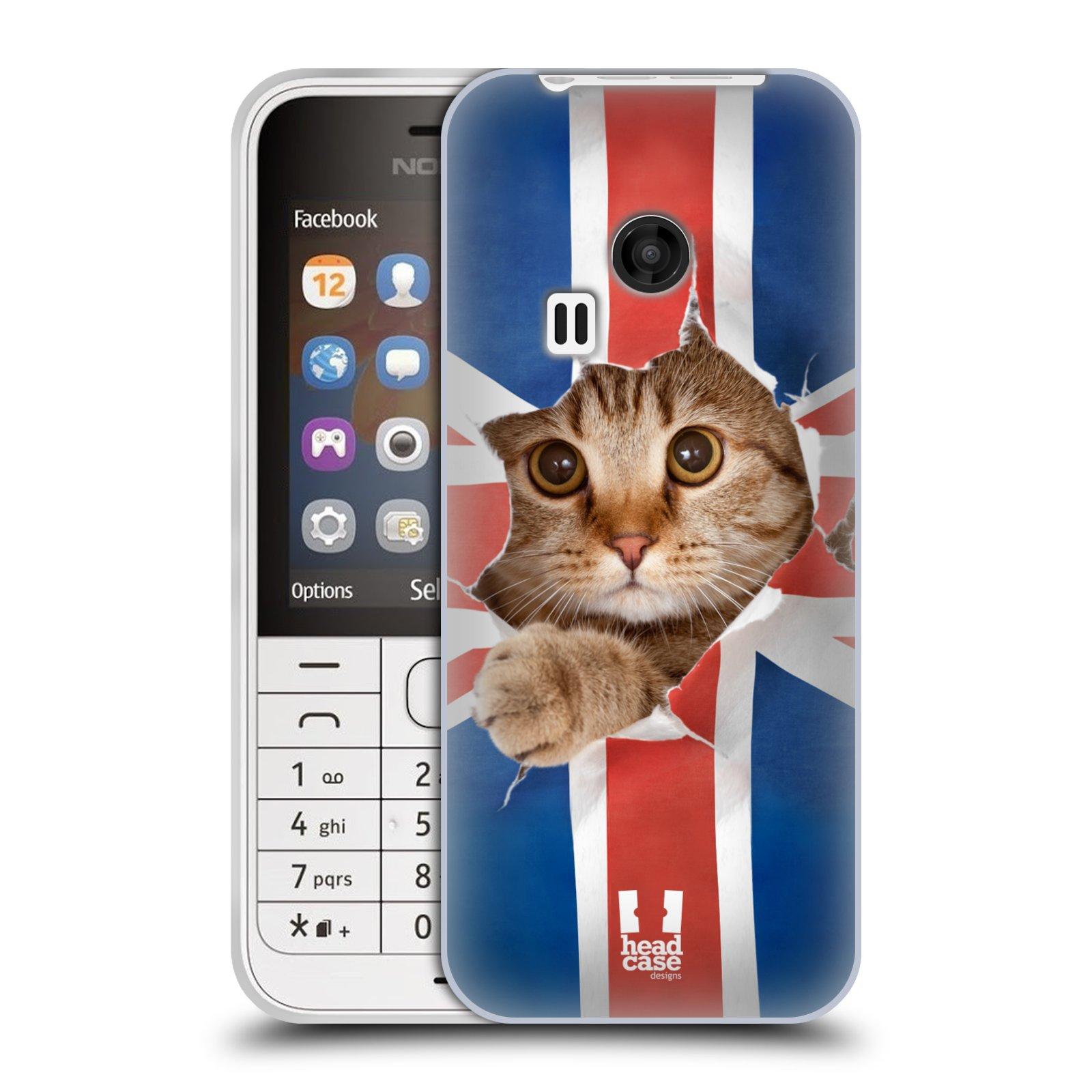Silikonové pouzdro na mobil Nokia 220 HEAD CASE KOČKA A VLAJKA (Silikonový kryt či obal na mobilní telefon Nokia 220 a 220 Dual SIM)