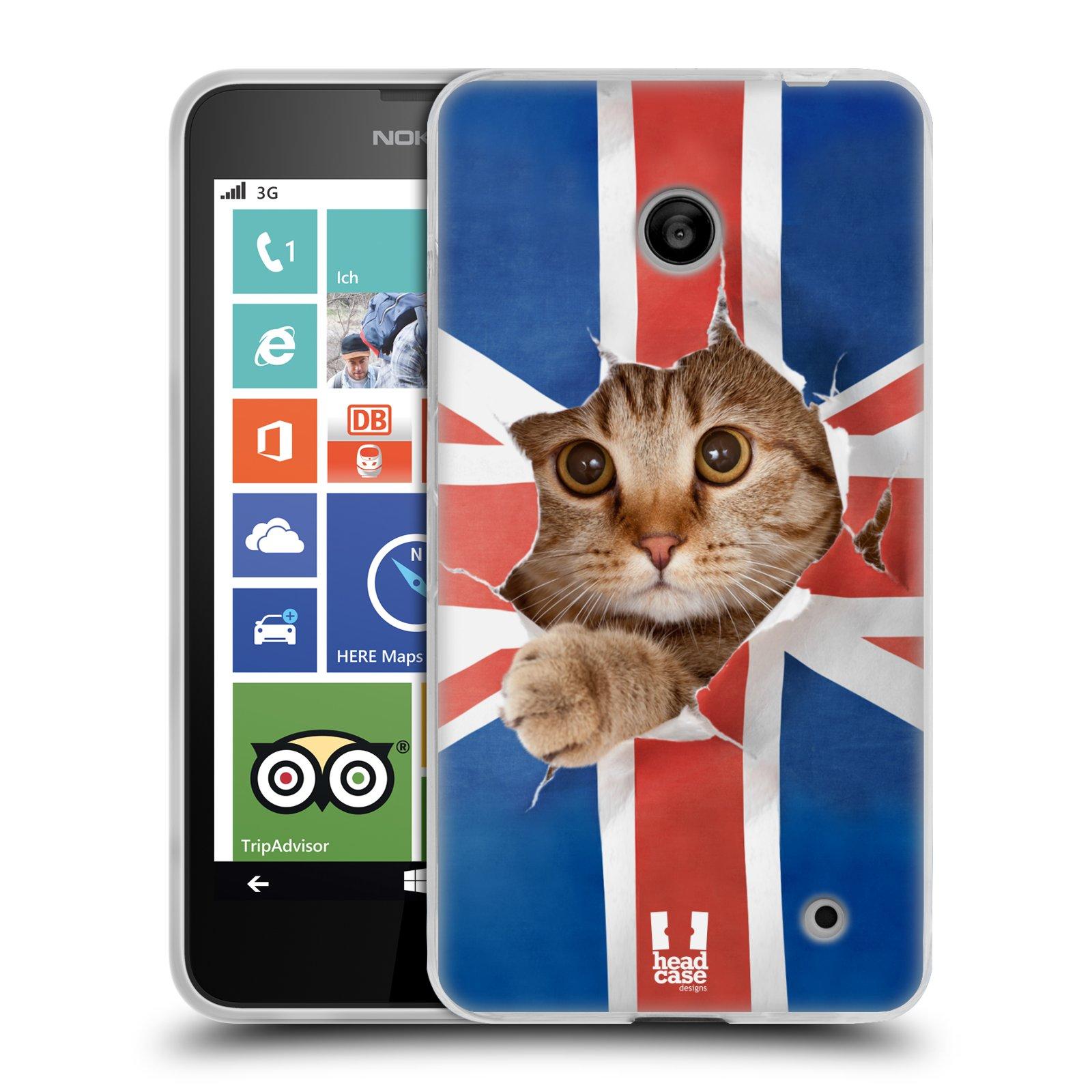 Silikonové pouzdro na mobil Nokia Lumia 630 HEAD CASE KOČKA A VLAJKA (Silikonový kryt či obal na mobilní telefon Nokia Lumia 630 a Nokia Lumia 630 Dual SIM)