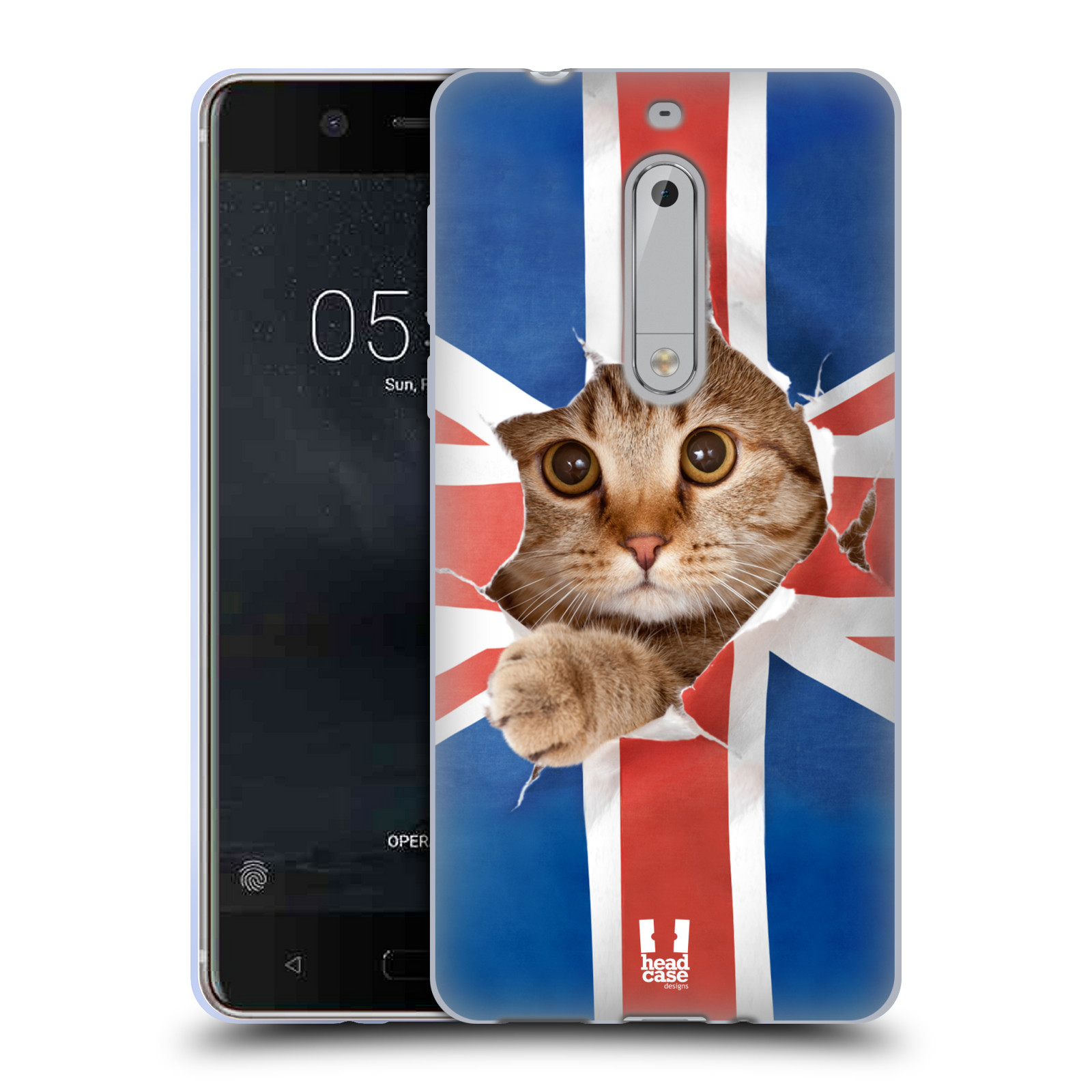 Silikonové pouzdro na mobil Nokia 5 Head Case - KOČKA A VLAJKA