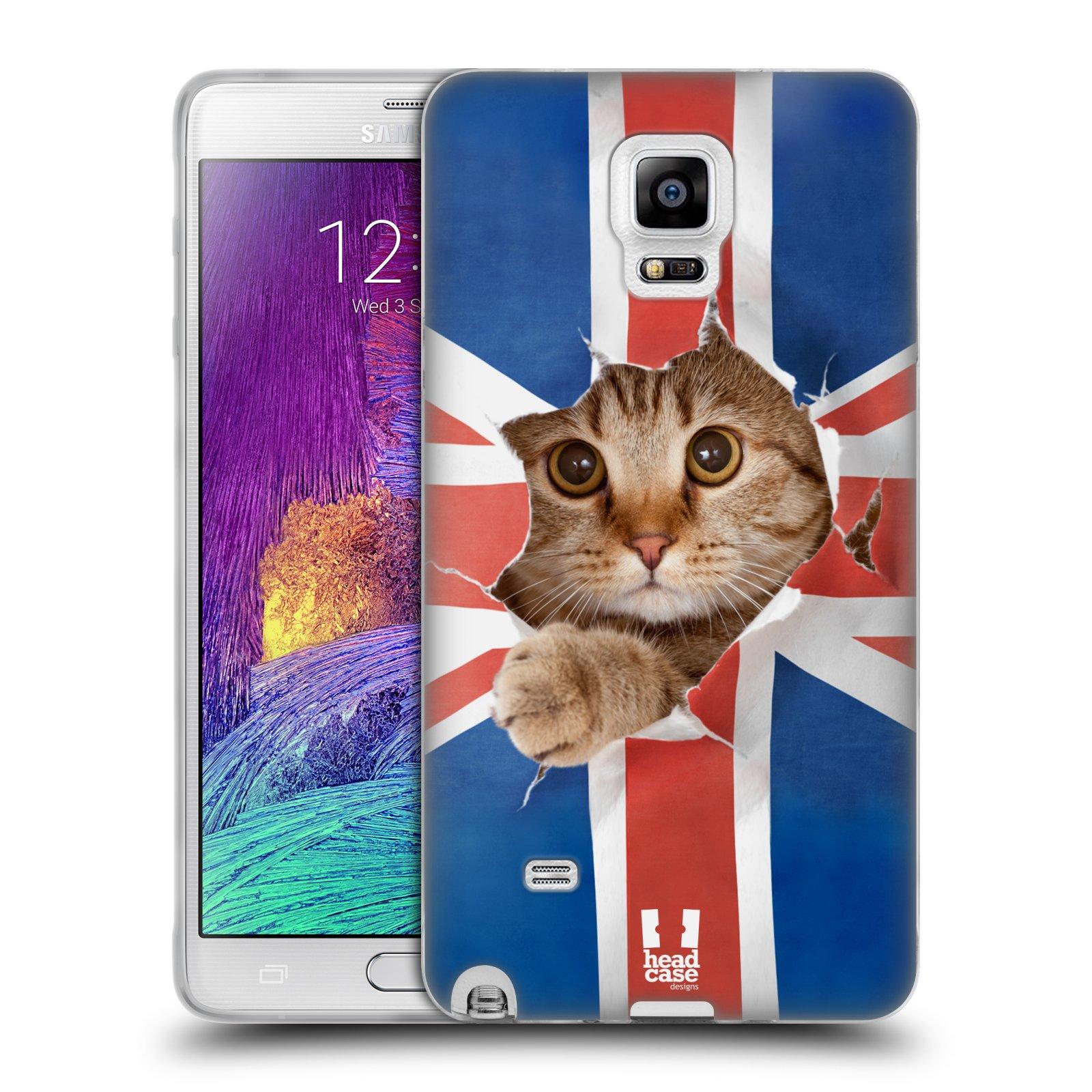 Silikonové pouzdro na mobil Samsung Galaxy Note 4 HEAD CASE KOČKA A VLAJKA (Silikonový kryt či obal na mobilní telefon Samsung Galaxy Note 4 SM-N910F)