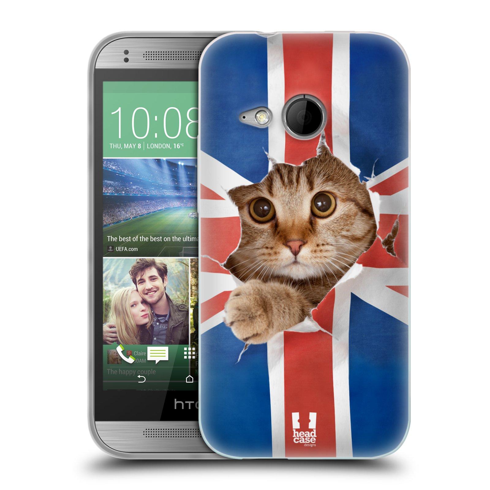 Silikonové pouzdro na mobil HTC ONE Mini 2 HEAD CASE KOČKA A VLAJKA (Silikonový kryt či obal na mobilní telefon HTC ONE Mini 2)