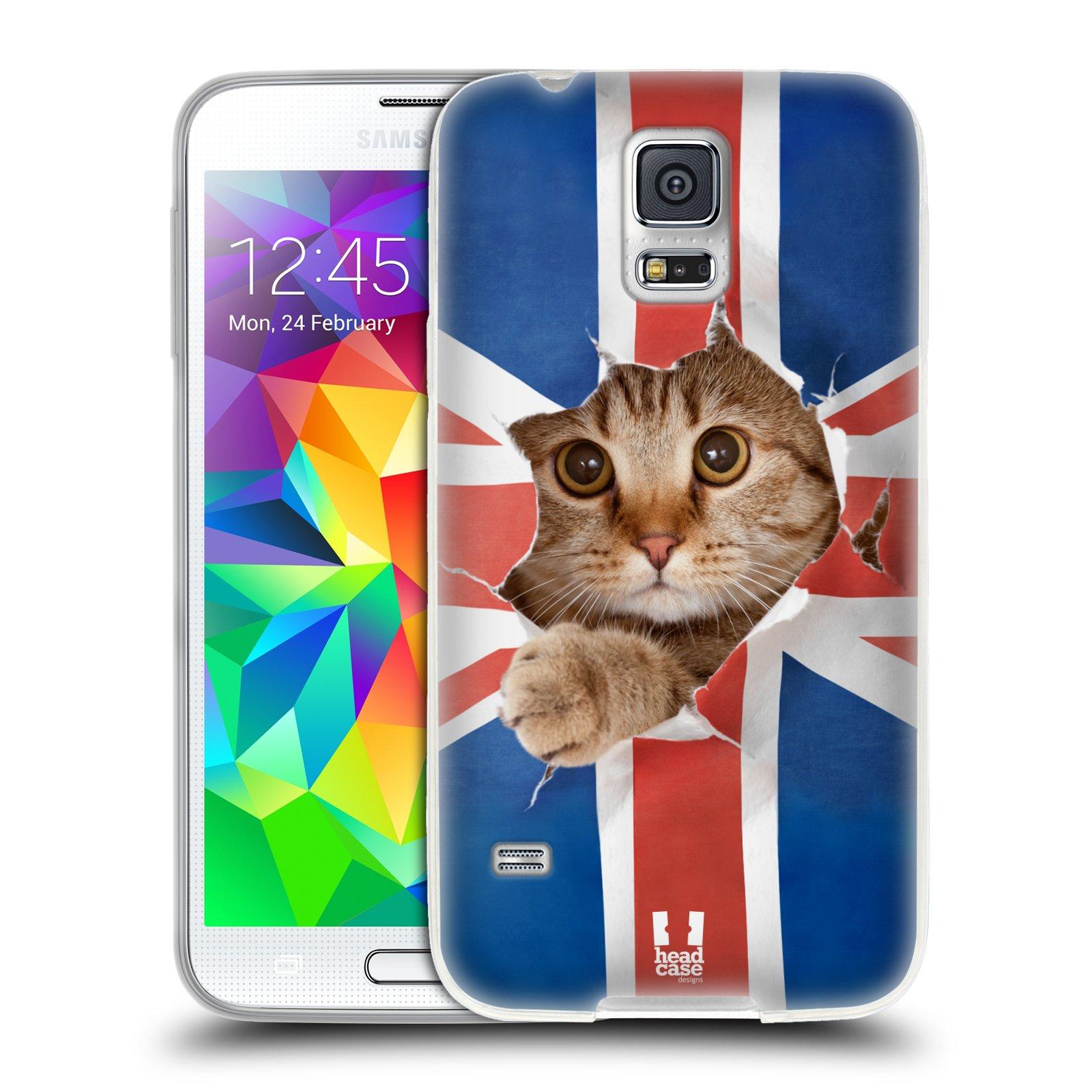 Silikonové pouzdro na mobil Samsung Galaxy S5 HEAD CASE KOČKA A VLAJKA (Silikonový kryt či obal na mobilní telefon Samsung Galaxy S5 SM-G900F)