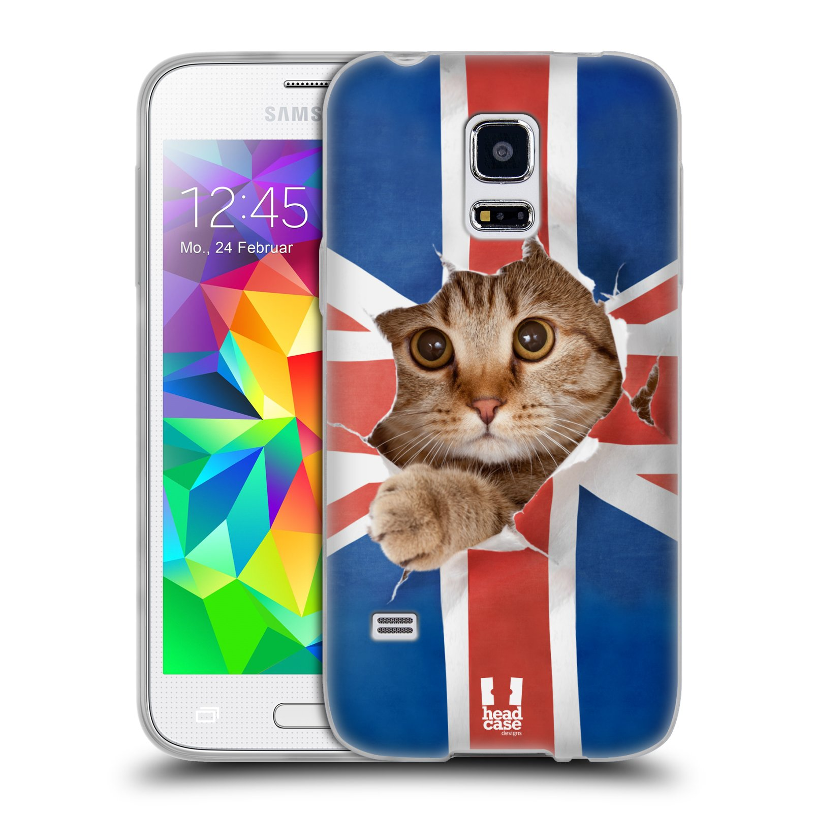 Silikonové pouzdro na mobil Samsung Galaxy S5 Mini HEAD CASE KOČKA A VLAJKA (Silikonový kryt či obal na mobilní telefon Samsung Galaxy S5 Mini SM-G800F)