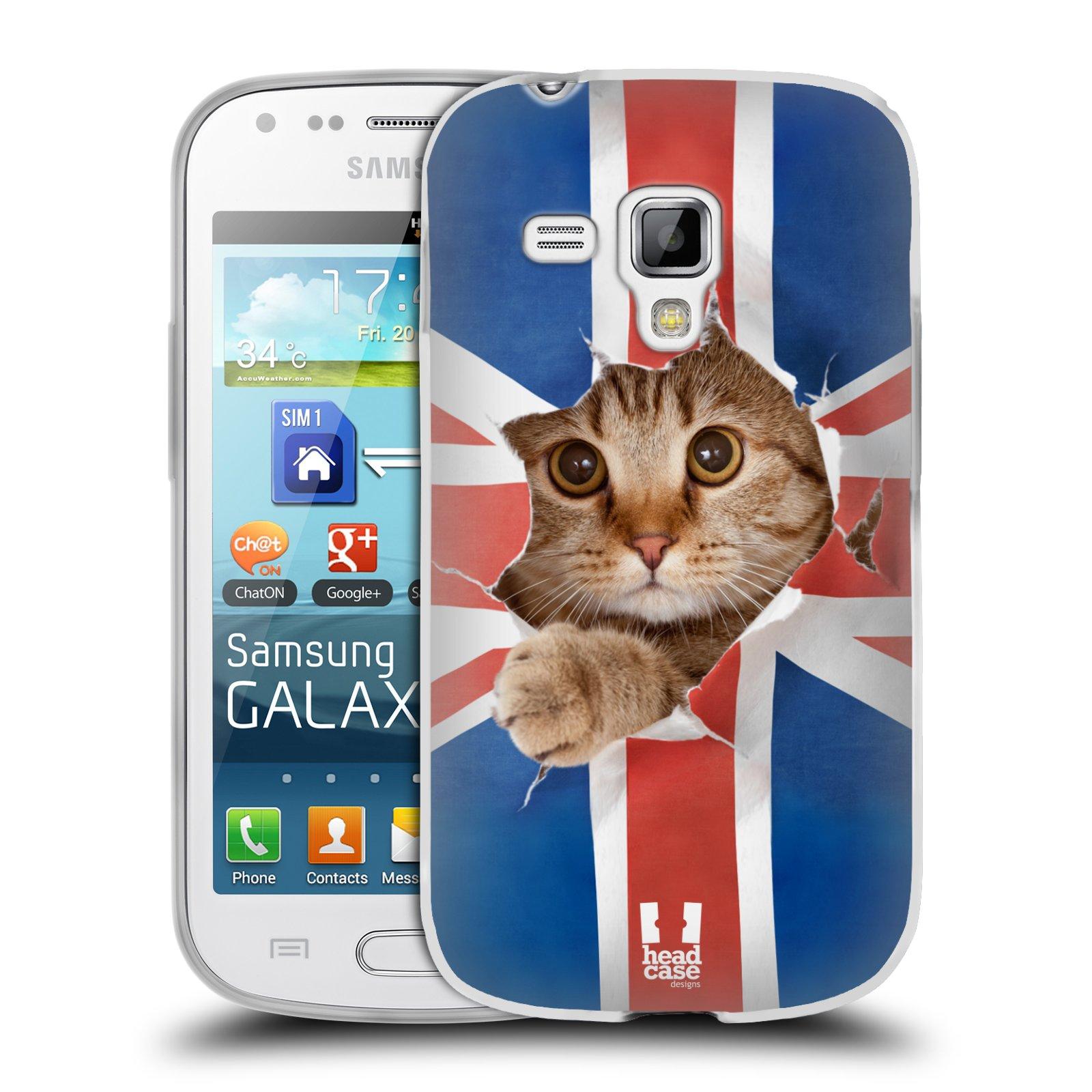 Silikonové pouzdro na mobil Samsung Galaxy Trend HEAD CASE KOČKA A VLAJKA (Silikonový kryt či obal na mobilní telefon Samsung Galaxy Trend GT-S7560)