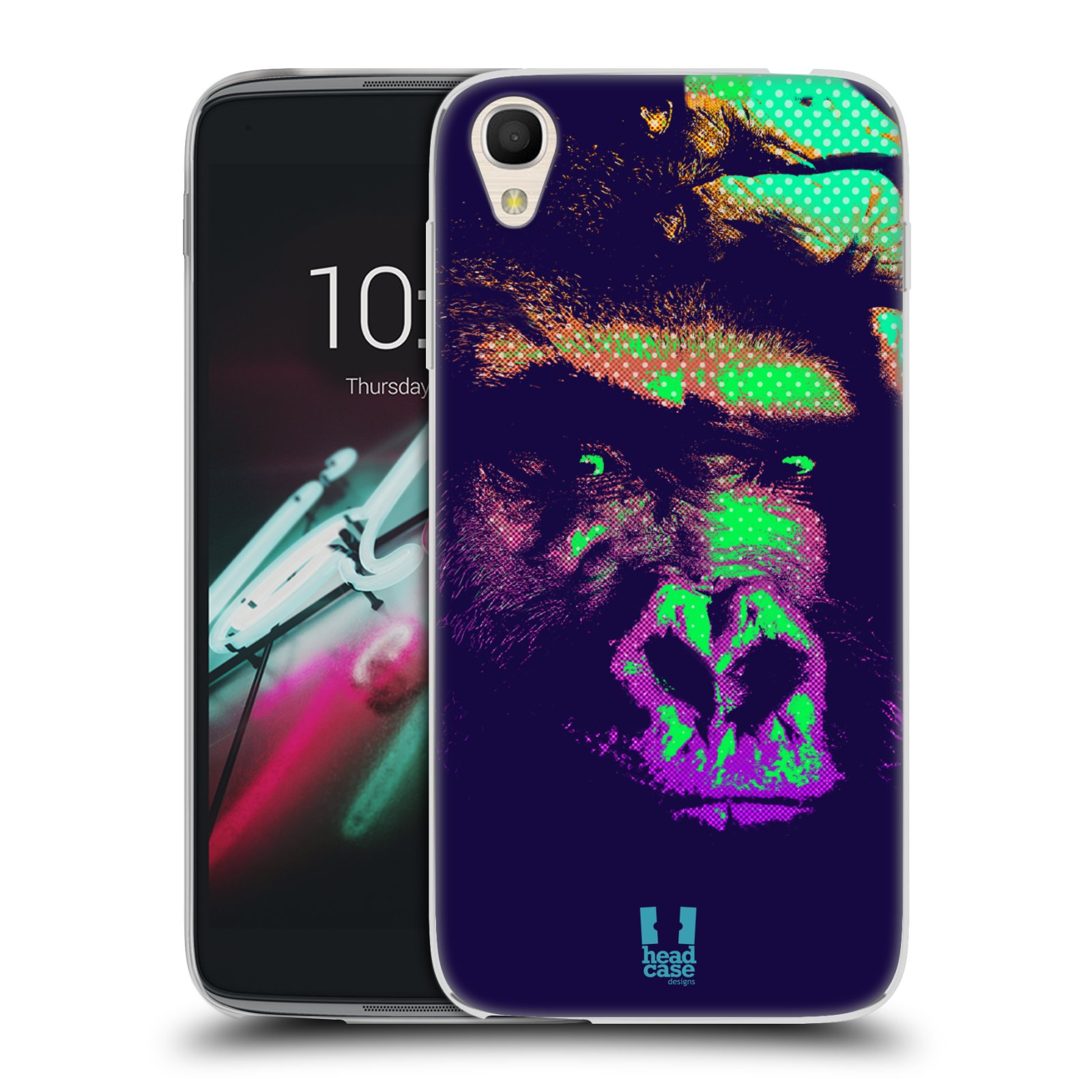 """Silikonové pouzdro na mobil Alcatel One Touch 6039Y Idol 3 HEAD CASE POP PRINT GORILA (Silikonový kryt či obal na mobilní telefon Alcatel One Touch Idol 3 OT-6039Y s 4,7"""" displejem)"""