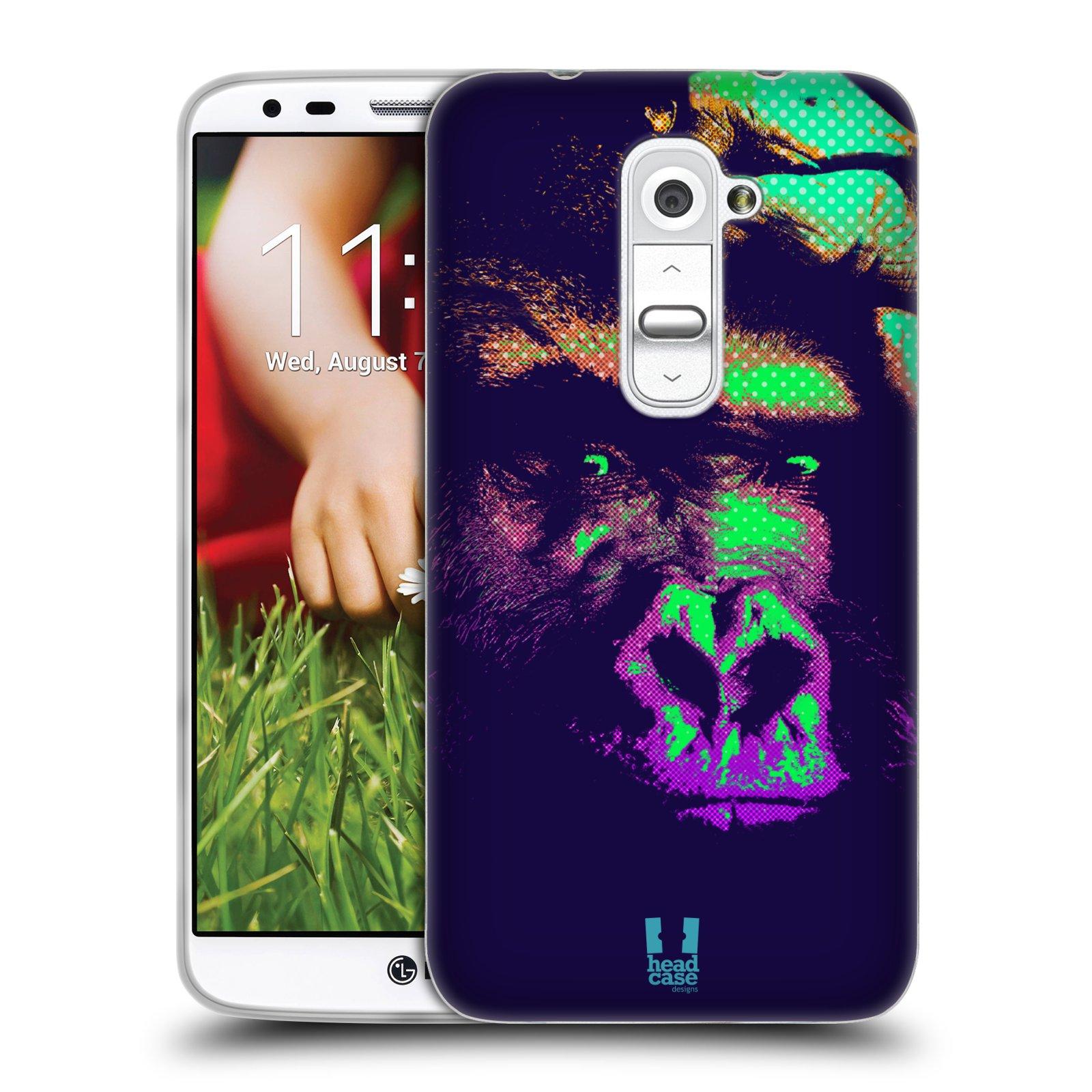 Silikonové pouzdro na mobil LG G2 HEAD CASE POP PRINT GORILA (Silikonový kryt či obal na mobilní telefon LG G2 D802)
