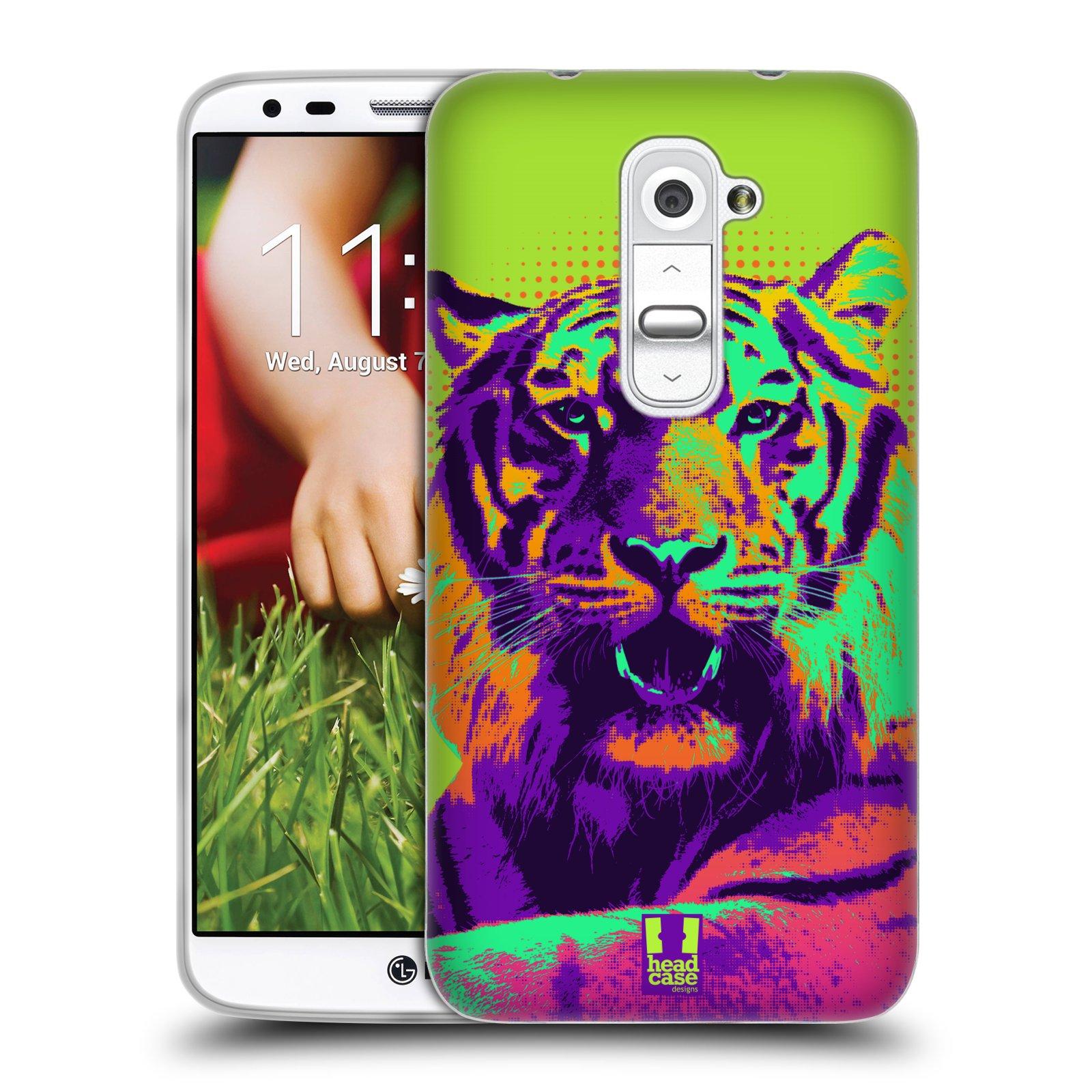 Silikonové pouzdro na mobil LG G2 HEAD CASE POP PRINT TYGR (Silikonový kryt či obal na mobilní telefon LG G2 D802)