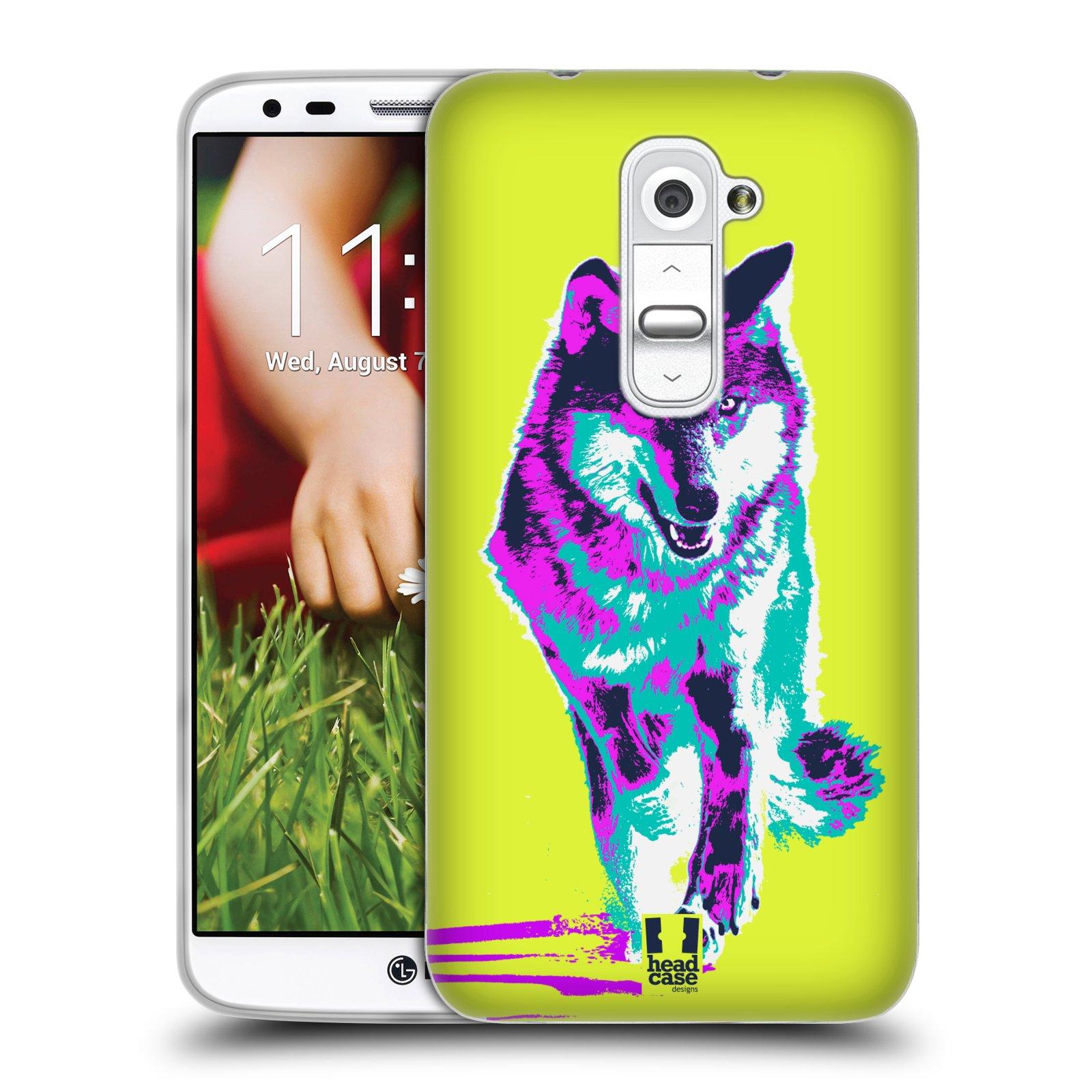 Silikonové pouzdro na mobil LG G2 HEAD CASE POP PRINT VLK (Silikonový kryt či obal na mobilní telefon LG G2 D802)