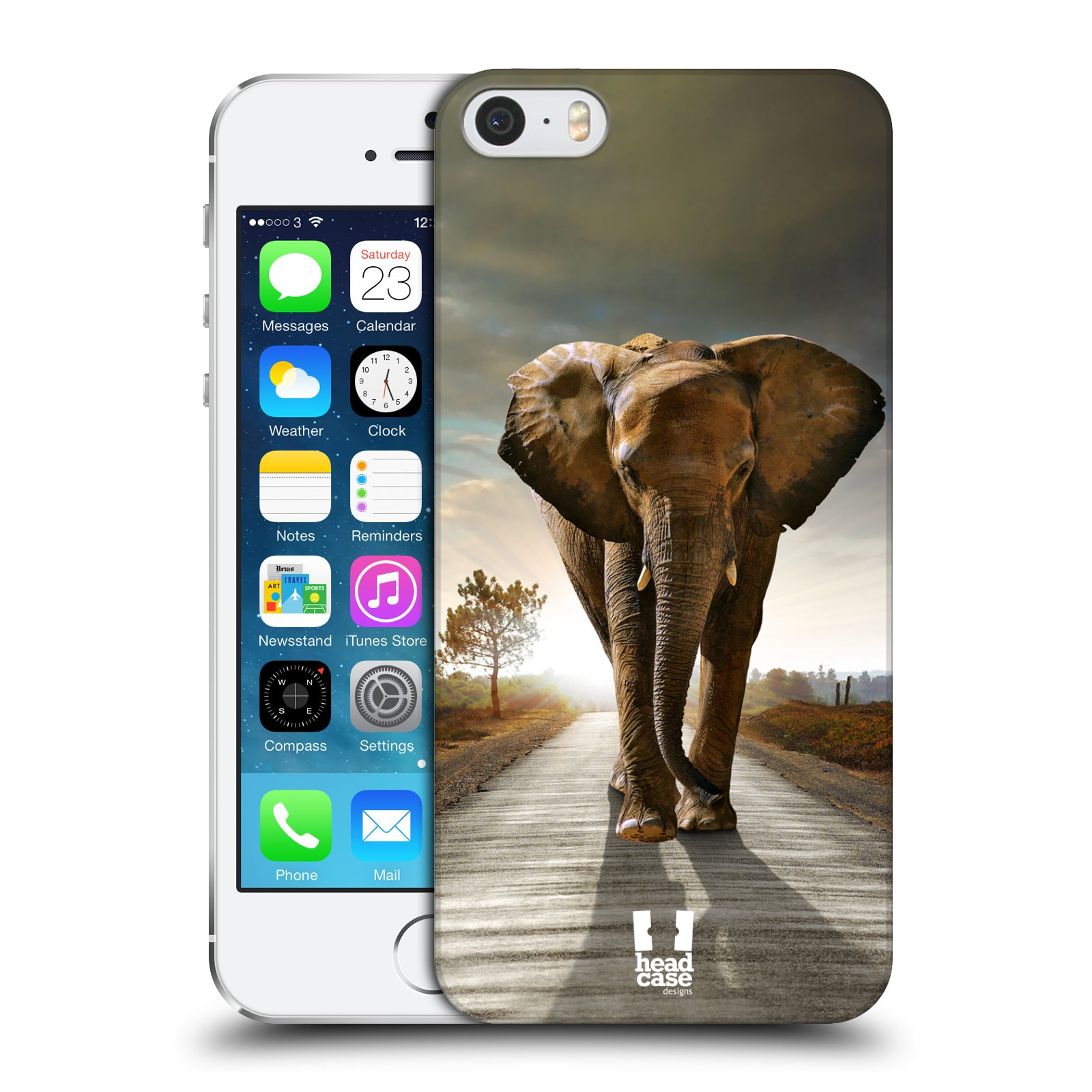 Plastové pouzdro na mobil Apple iPhone SE, 5 a 5S HEAD CASE DIVOČINA – SLON