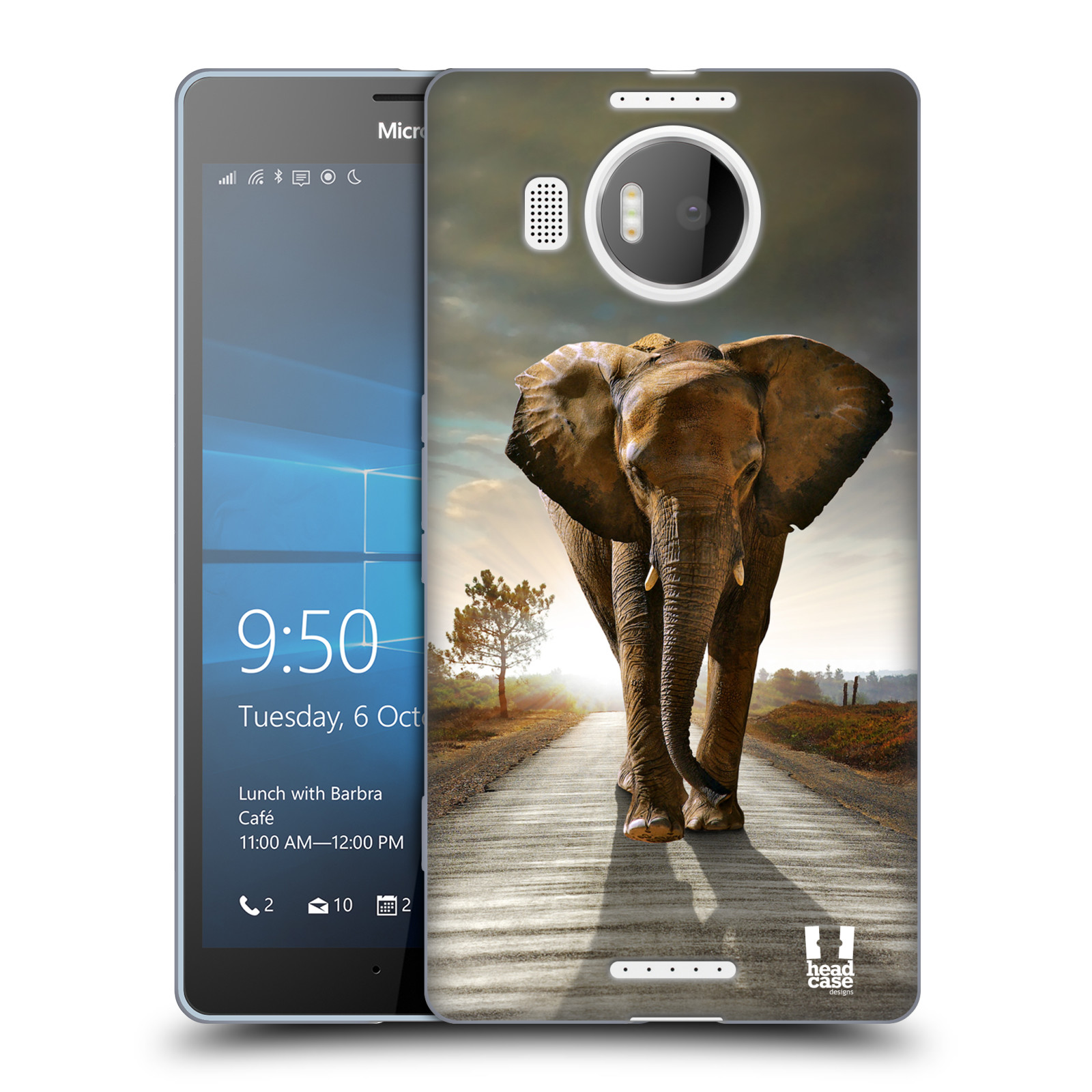 Silikonové pouzdro na mobil Microsoft Lumia 950 XL HEAD CASE DIVOČINA – SLON