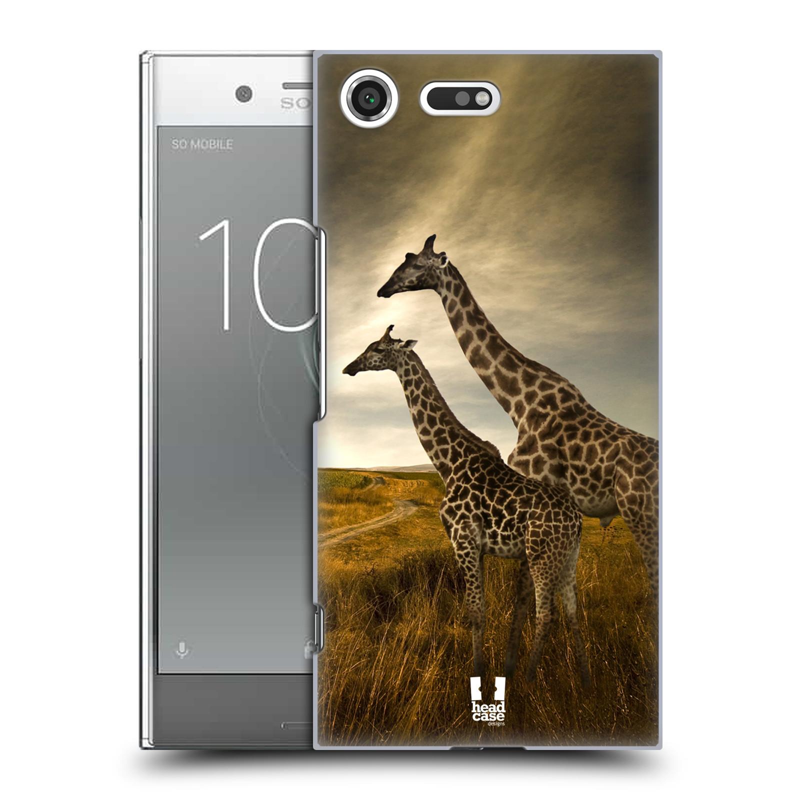 Plastové pouzdro na mobil Sony Xperia XZ Premium Head Case - DIVOČINA - ŽIRAFY (Plastový kryt či obal na mobilní telefon Sony Xperia XZ Premium G8142)