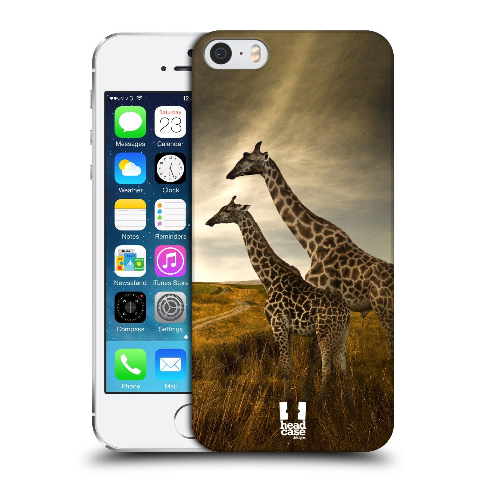 Plastové pouzdro na mobil Apple iPhone SE, 5 a 5S HEAD CASE DIVOČINA – ŽIRAFY