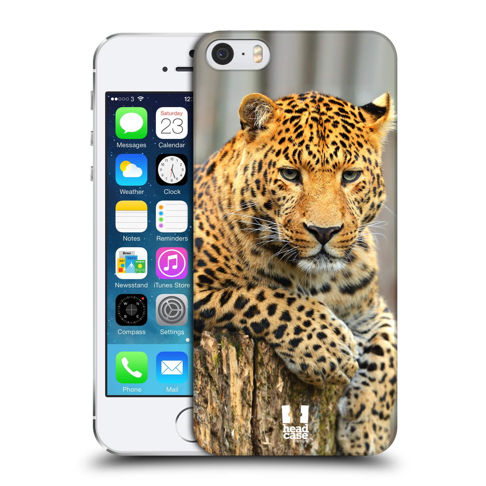 Plastové pouzdro na mobil Apple iPhone SE, 5 a 5S HEAD CASE DIVOČINA – LEOPARD