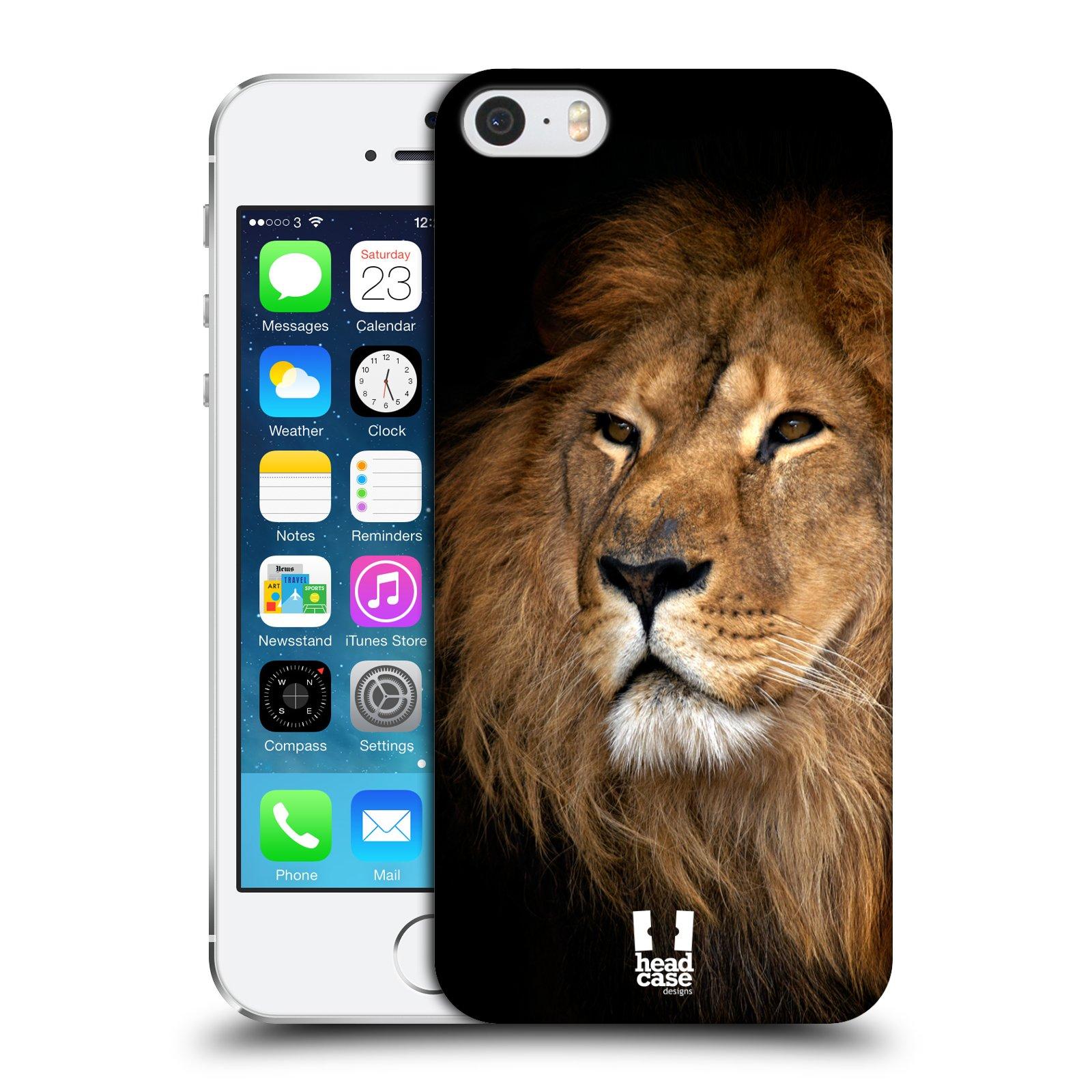 Plastové pouzdro na mobil Apple iPhone SE, 5 a 5S HEAD CASE DIVOČINA – LEV