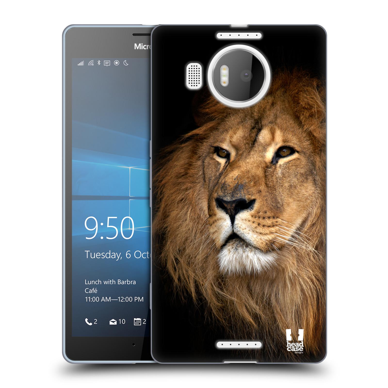 Silikonové pouzdro na mobil Microsoft Lumia 950 XL HEAD CASE DIVOČINA – LEV