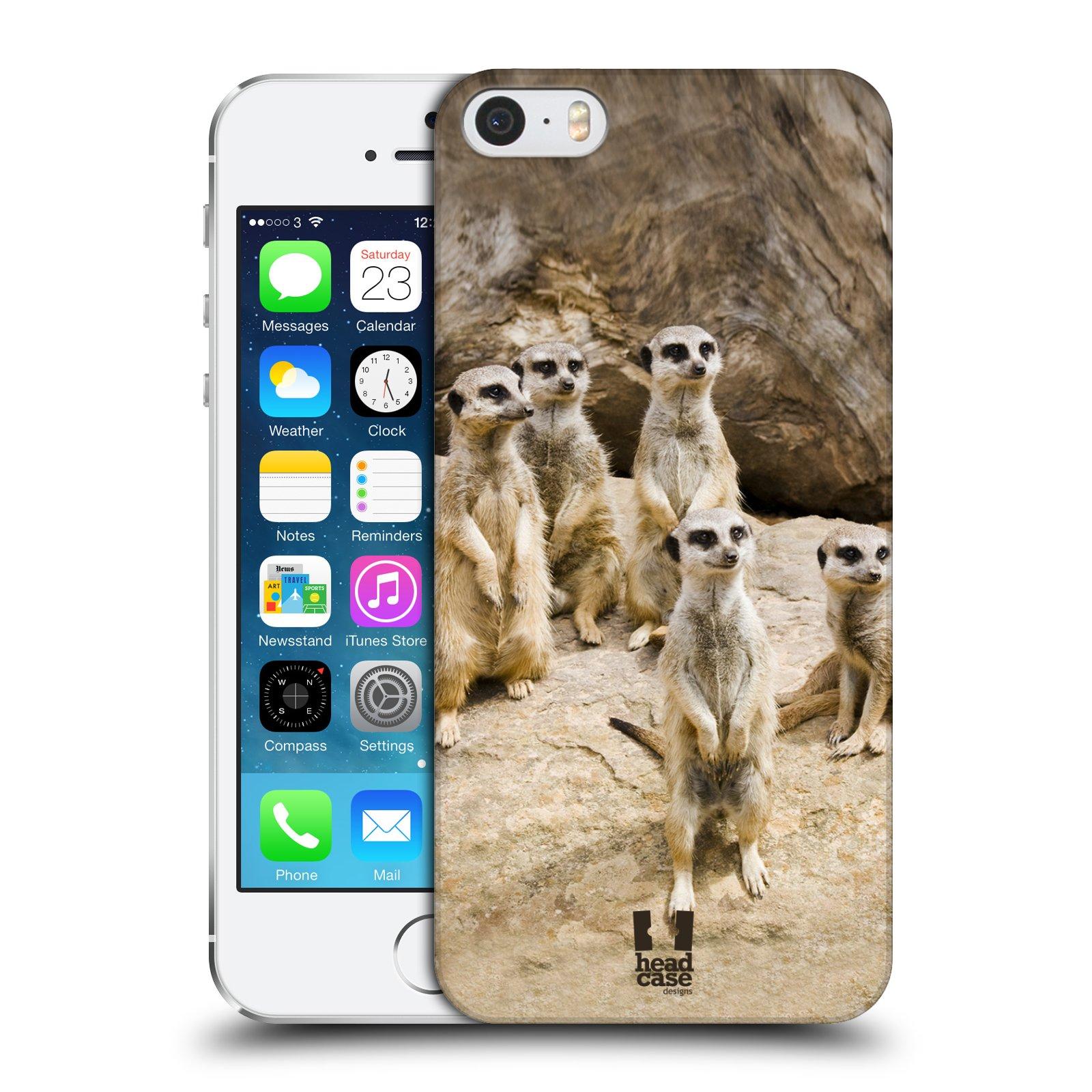 Plastové pouzdro na mobil Apple iPhone SE, 5 a 5S HEAD CASE DIVOČINA – SURIKATY