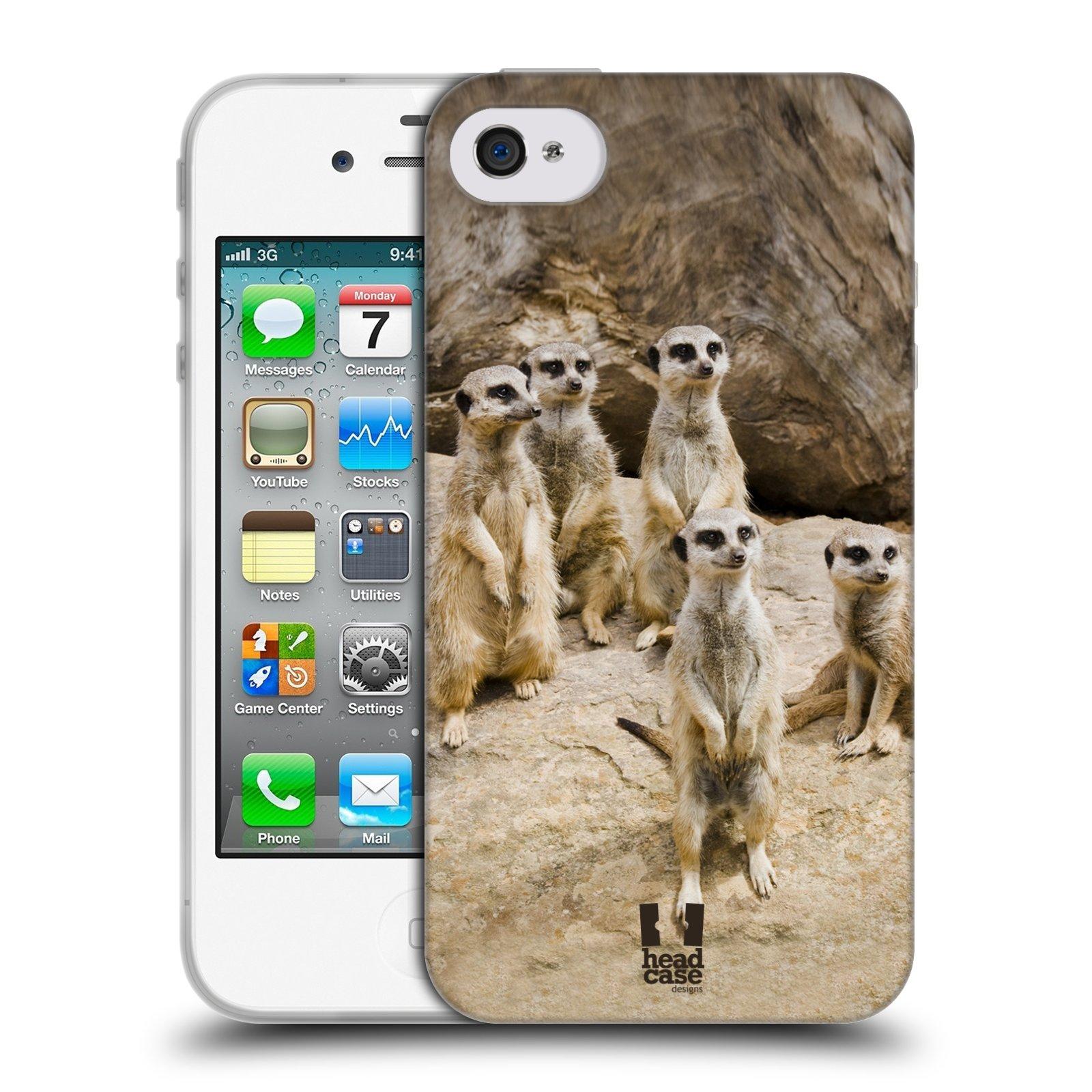 Silikonové pouzdro na mobil Apple iPhone 4 a 4S HEAD CASE DIVOČINA – SURIKATY