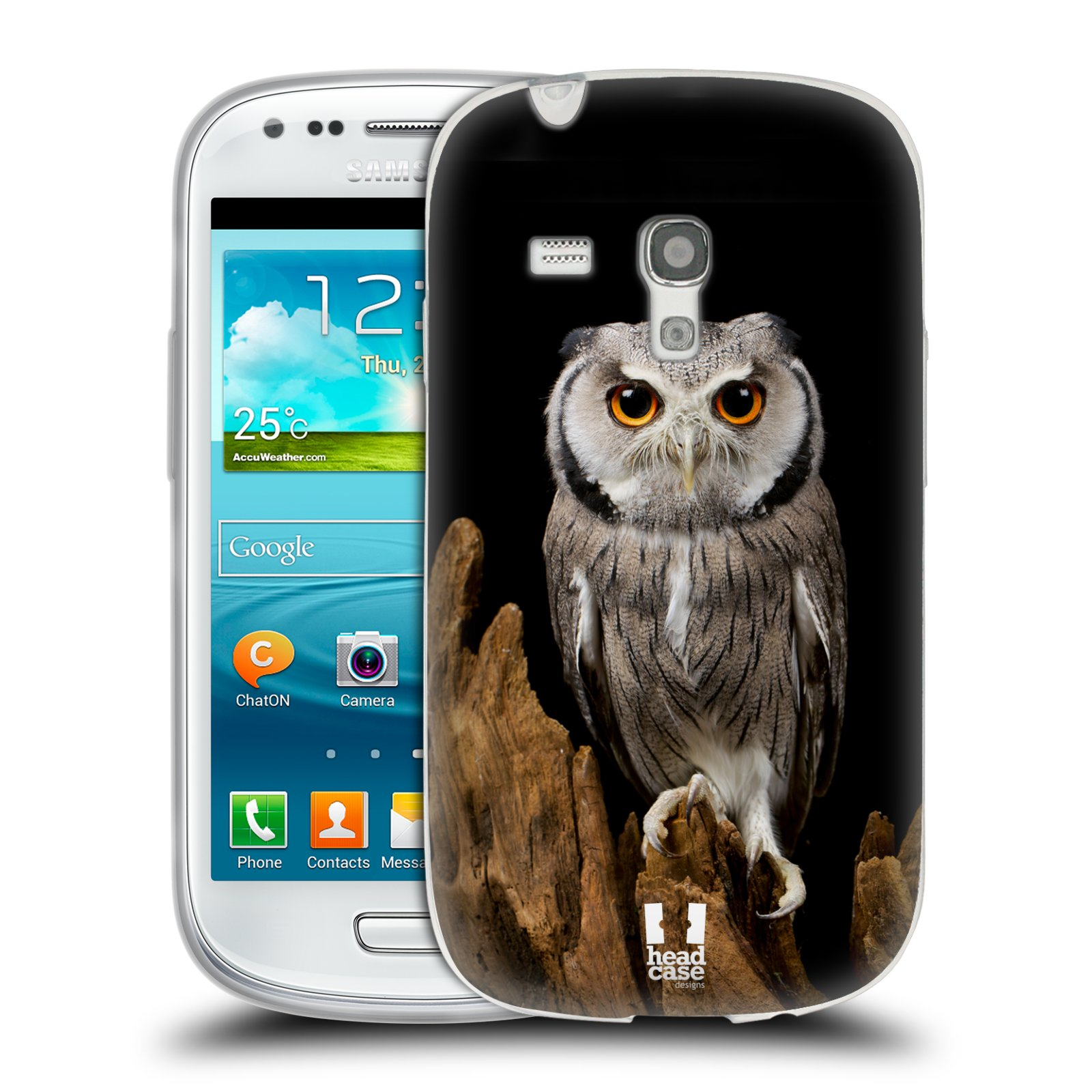 Silikonové pouzdro na mobil Samsung Galaxy S3 Mini VE HEAD CASE DIVOČINA – SOVA (Silikonový kryt či obal na mobilní telefon Samsung Galaxy S3 Mini VE GT-i8200)
