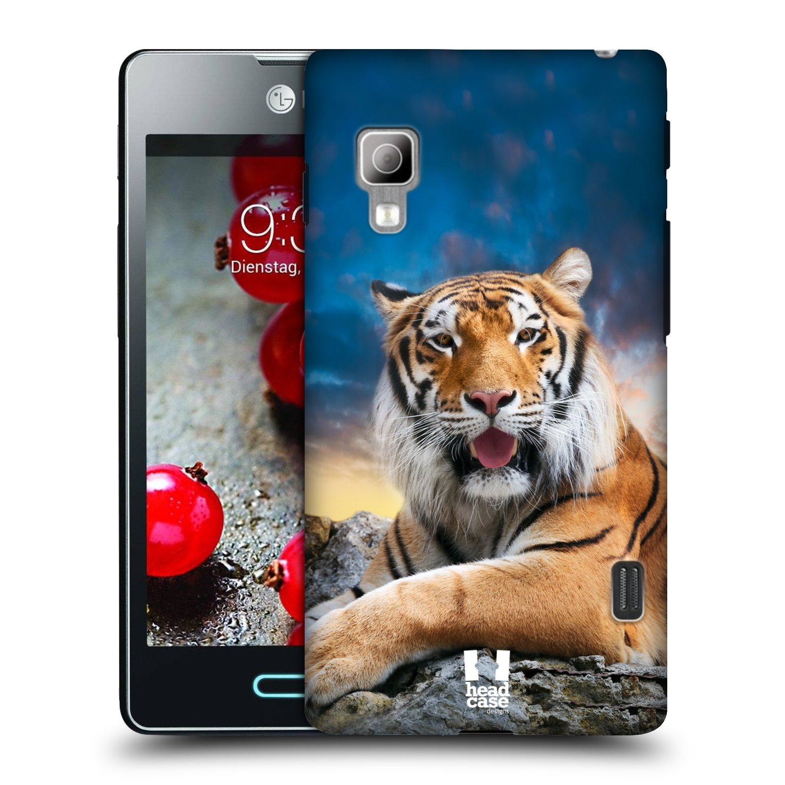 Plastové pouzdro na mobil LG Optimus L5 II Dual HEAD CASE DIVOČINA – TYGR (Kryt či obal na mobilní telefon LG Optimus L5 II Dual E455)