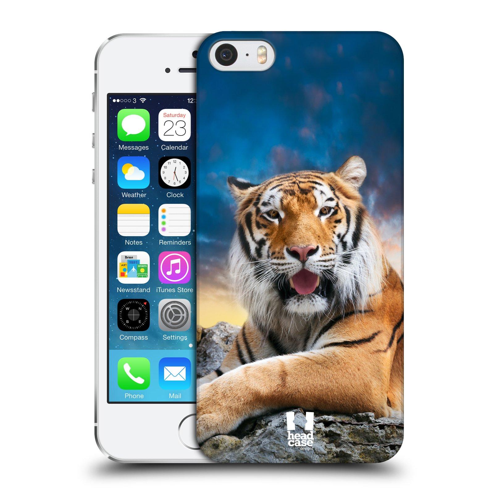 Plastové pouzdro na mobil Apple iPhone SE, 5 a 5S HEAD CASE DIVOČINA – TYGR