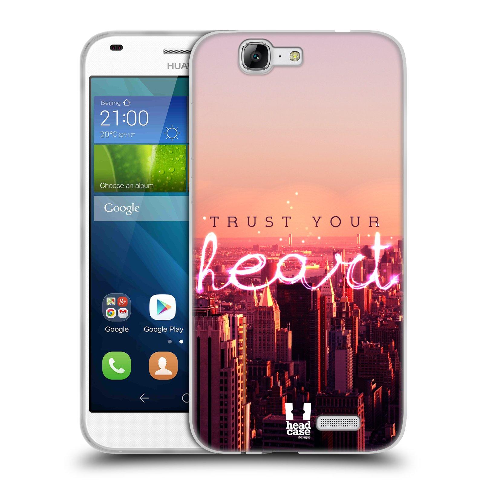 Silikonové pouzdro na mobil Huawei Ascend G7 HEAD CASE TRUST YOUR HEART (Silikonový kryt či obal na mobilní telefon Huawei Ascend G7)