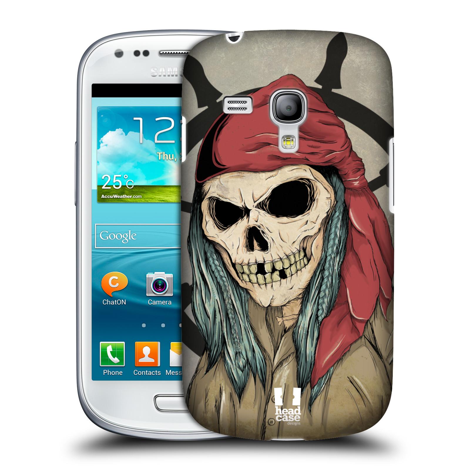 Silikonové pouzdro na mobil Samsung Galaxy S III Mini VE - Head Case - Pirát s červeným šátkem (Plastový kryt či obal na mobilní telefon s motivem zombie piráta pro Samsung Galaxy S3 Mini VE GT-i8200)