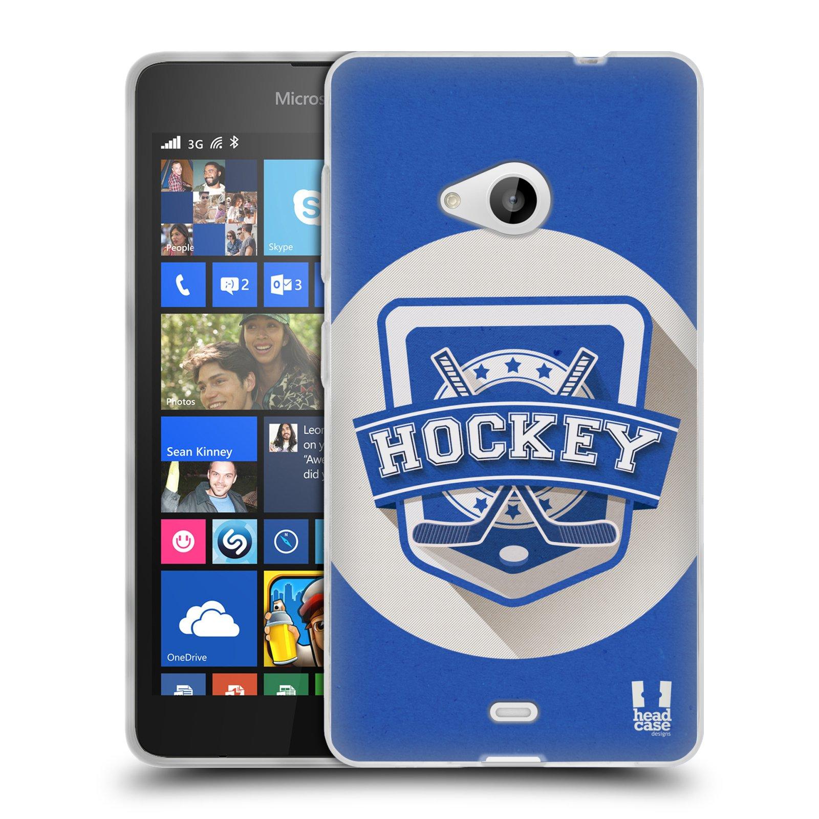 Silikonové pouzdro na mobil Microsoft Lumia 535 HEAD CASE HOKEJ (Silikonový kryt či obal na mobilní telefon Microsoft Lumia 535)