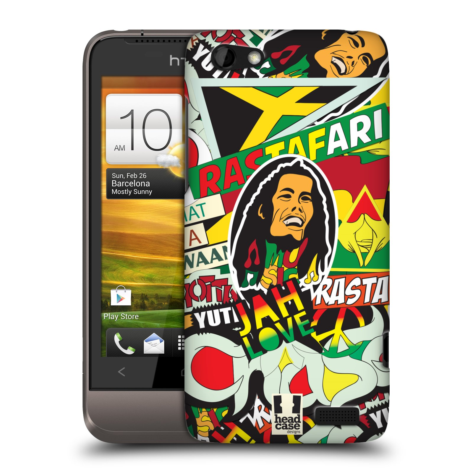 Plastové pouzdro na mobil HTC ONE V HEAD CASE RASTA (Kryt či obal na mobilní telefon HTC ONE V)