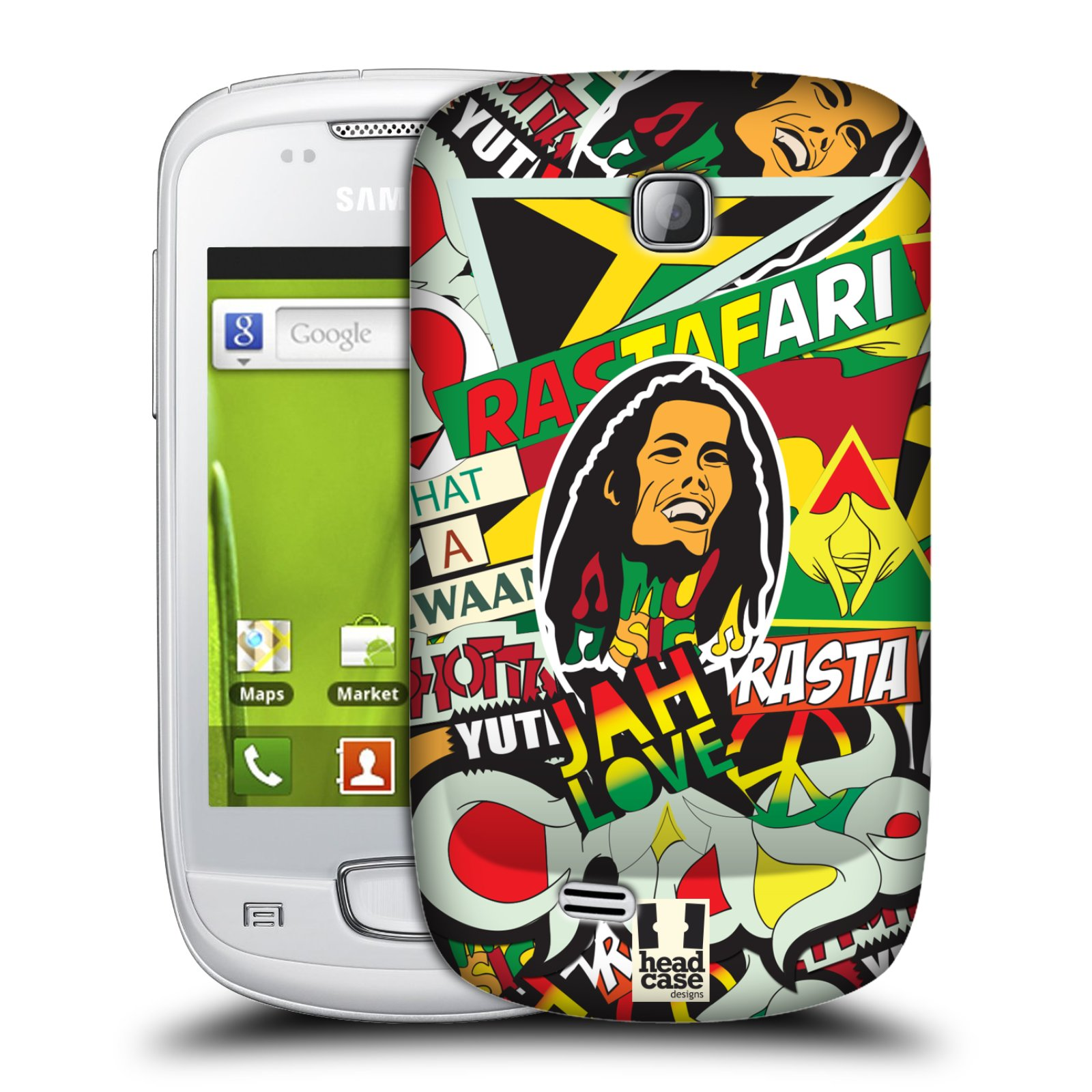 Plastové pouzdro na mobil Samsung Galaxy Mini HEAD CASE RASTA (Kryt či obal na mobilní telefon Samsung Galaxy Mini GT-S5570 / GT-S5570i)