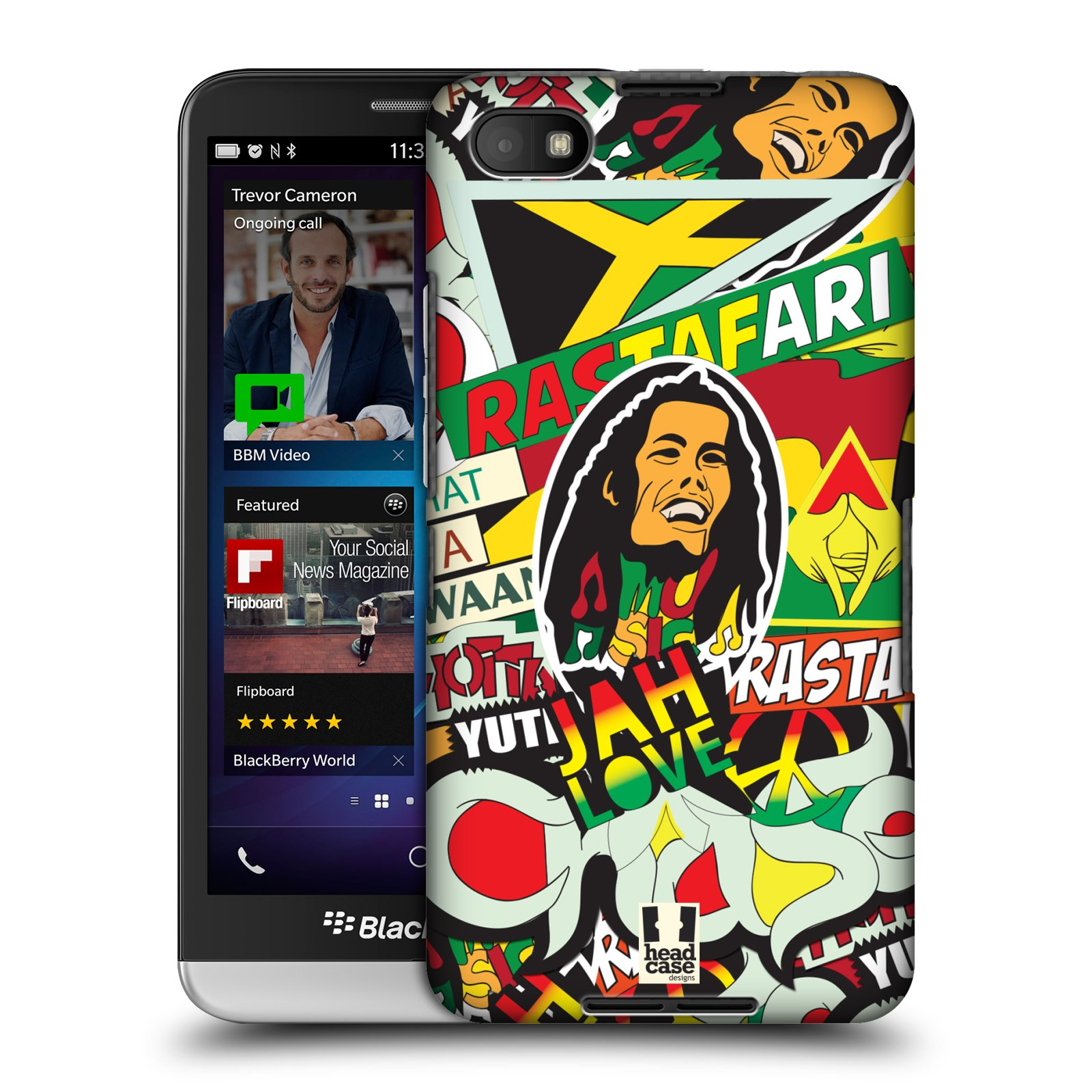 Plastové pouzdro na mobil Blackberry Z30 HEAD CASE RASTA (Kryt či obal na mobilní telefon Blackberry Z30)