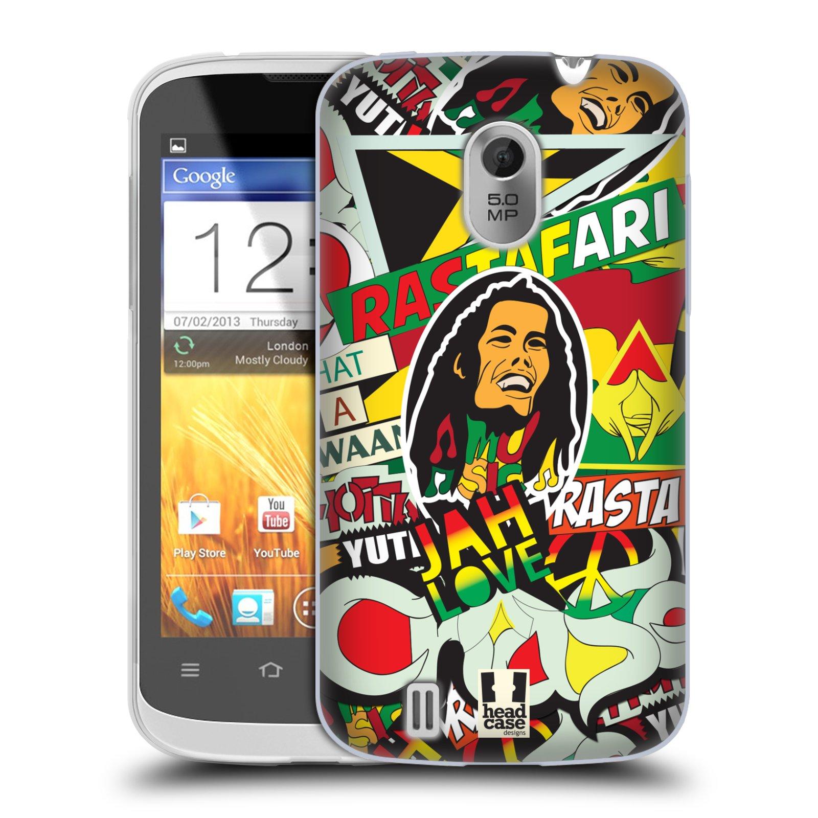 Silikonové pouzdro na mobil ZTE Blade III HEAD CASE RASTA (Silikonový kryt či obal na mobilní telefon ZTE Blade 3)