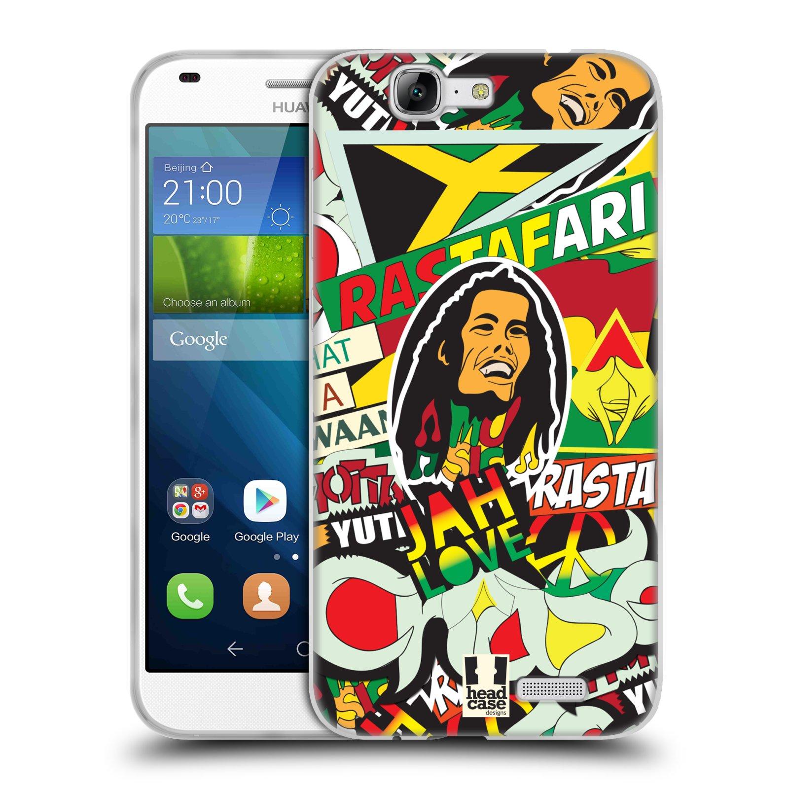 Silikonové pouzdro na mobil Huawei Ascend G7 HEAD CASE RASTA (Silikonový kryt či obal na mobilní telefon Huawei Ascend G7)