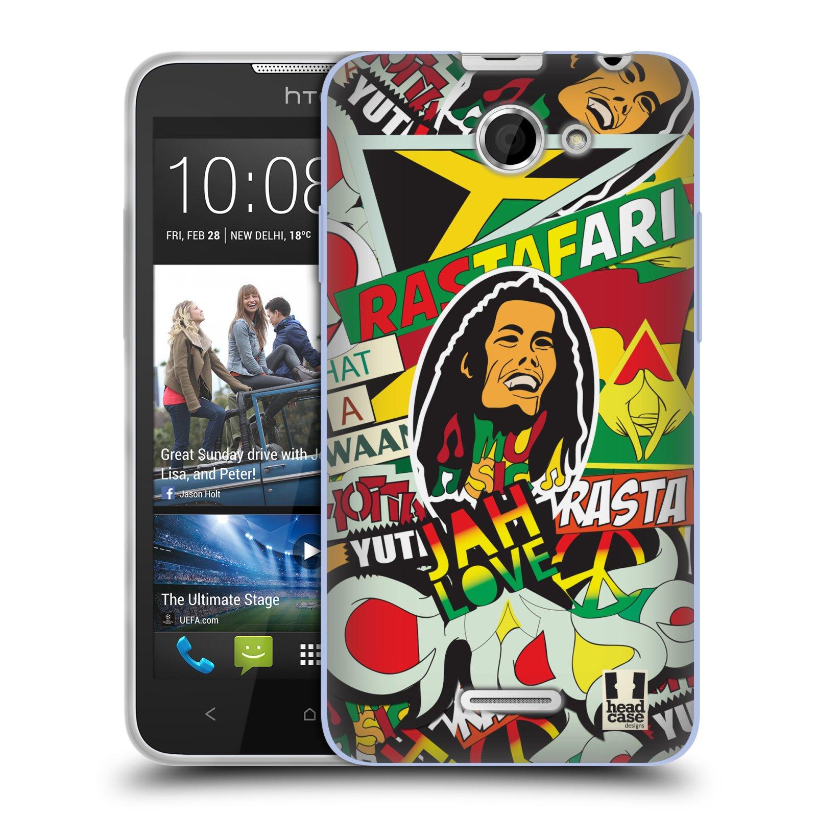 Silikonové pouzdro na mobil HTC Desire 516 HEAD CASE RASTA (Silikonový kryt či obal na mobilní telefon HTC Desire 516 Dual SIM)
