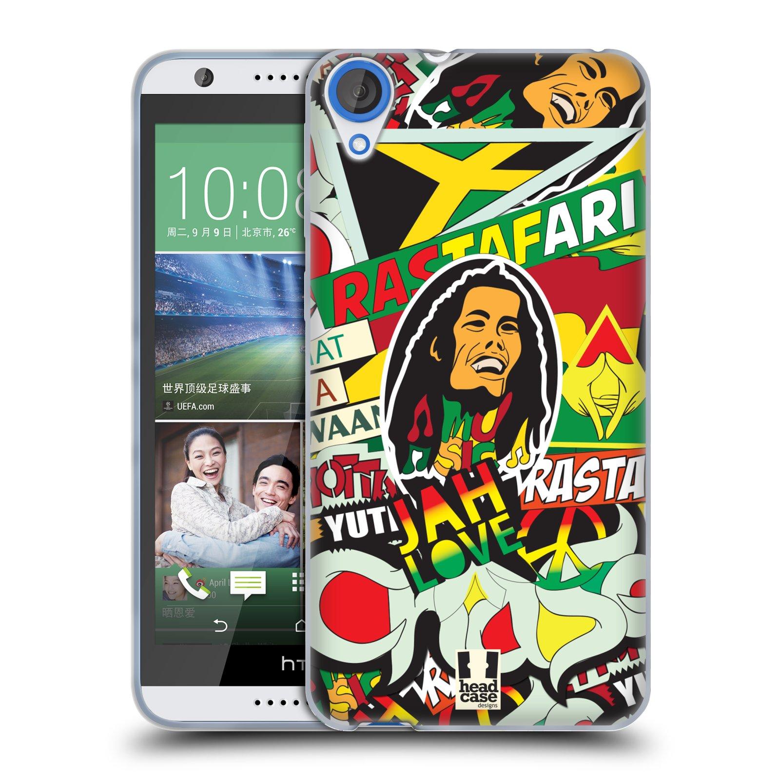 Silikonové pouzdro na mobil HTC Desire 820 HEAD CASE RASTA (Silikonový kryt či obal na mobilní telefon HTC Desire 820)