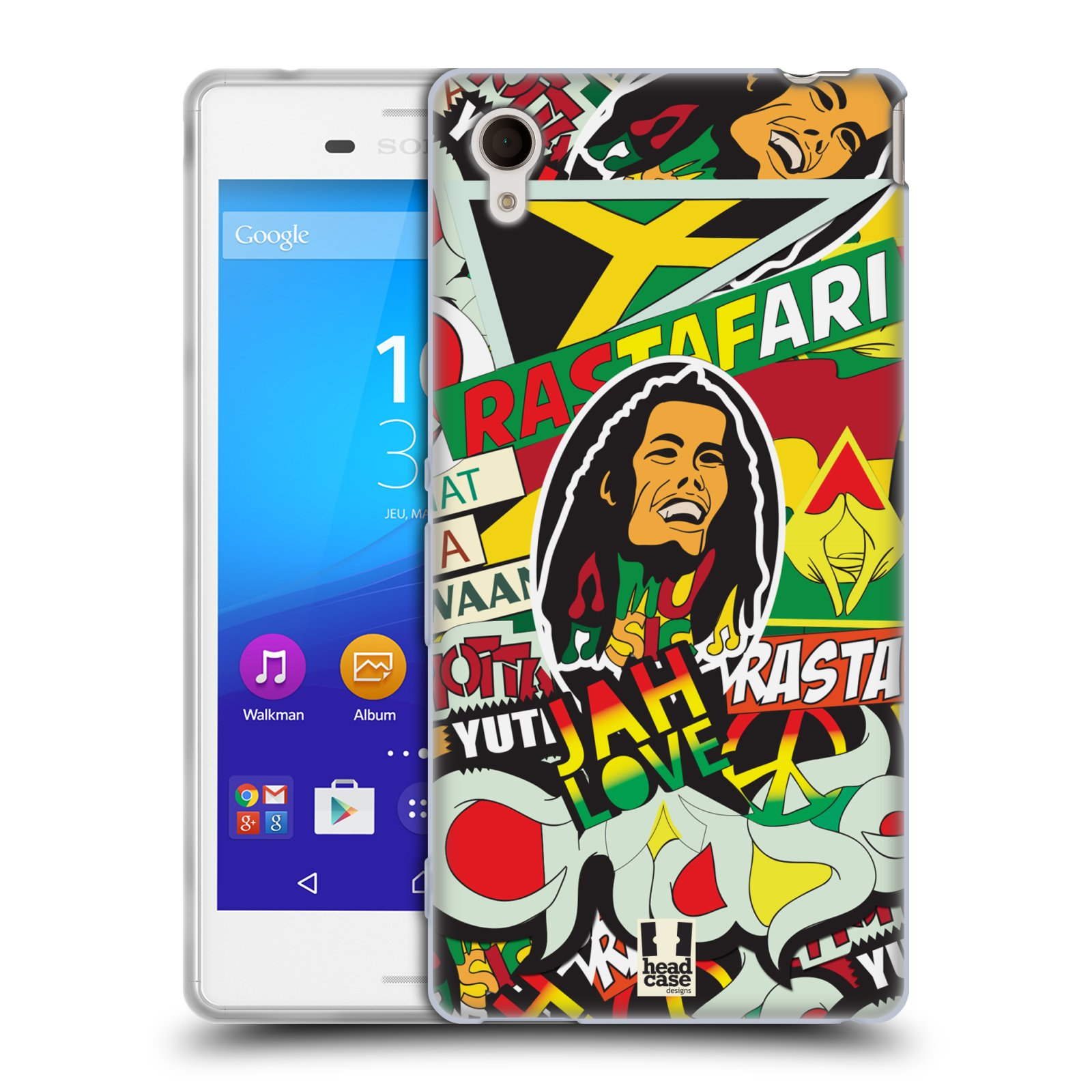 Silikonové pouzdro na mobil Sony Xperia M4 Aqua E2303 HEAD CASE RASTA (Silikonový kryt či obal na mobilní telefon Sony Xperia M4 Aqua a M4 Aqua Dual SIM)