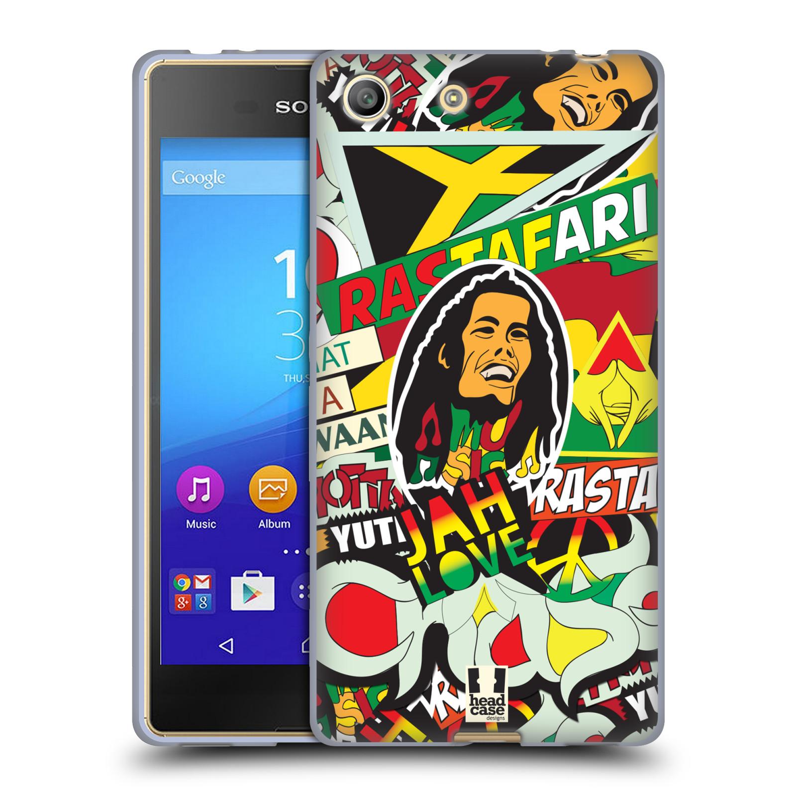 Silikonové pouzdro na mobil Sony Xperia M5 HEAD CASE RASTA (Silikonový kryt či obal na mobilní telefon Sony Xperia M5 Dual SIM / Aqua)